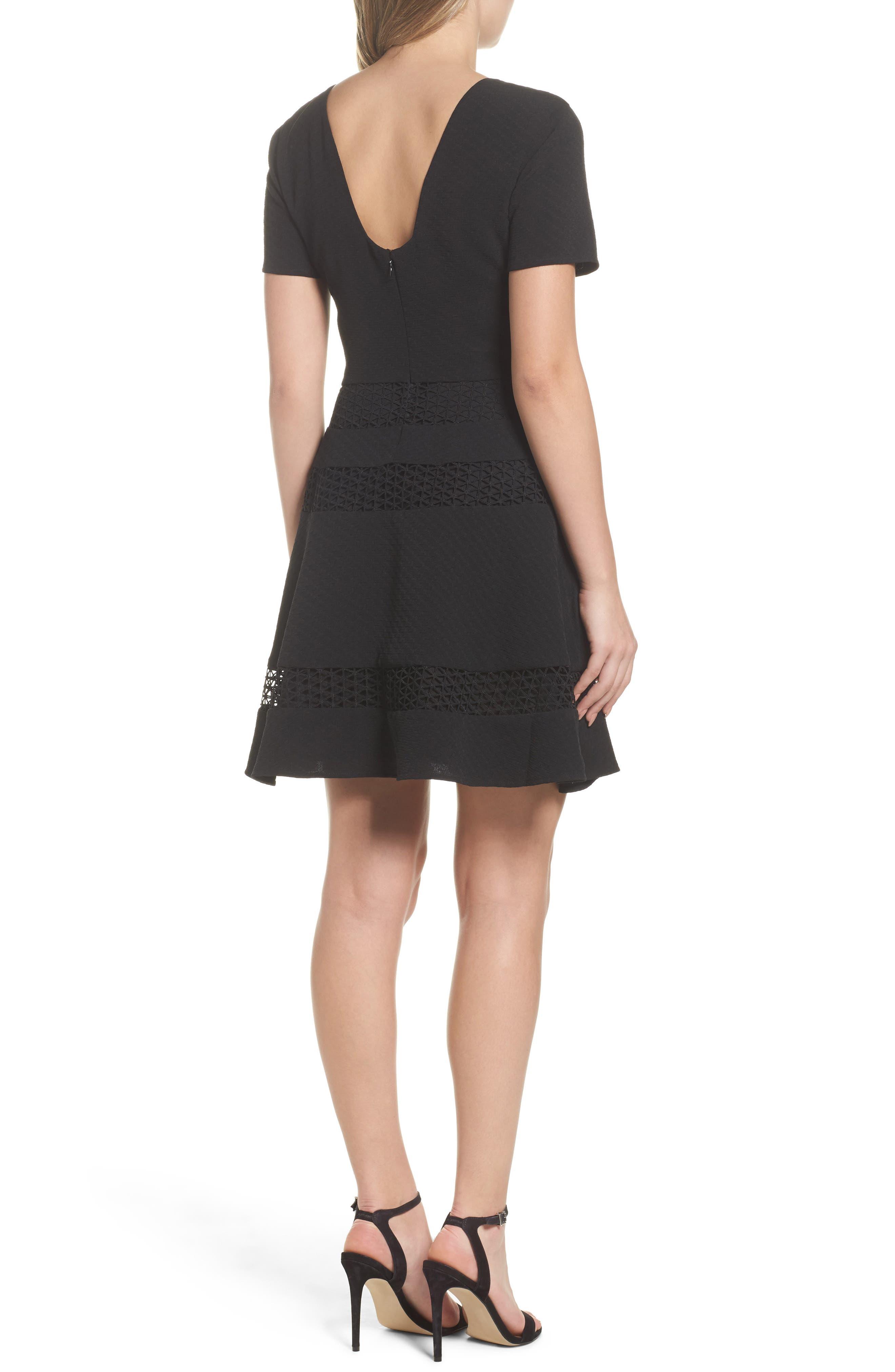 Mixed Media Fit & Flare Dress,                             Alternate thumbnail 2, color,                             BLACK