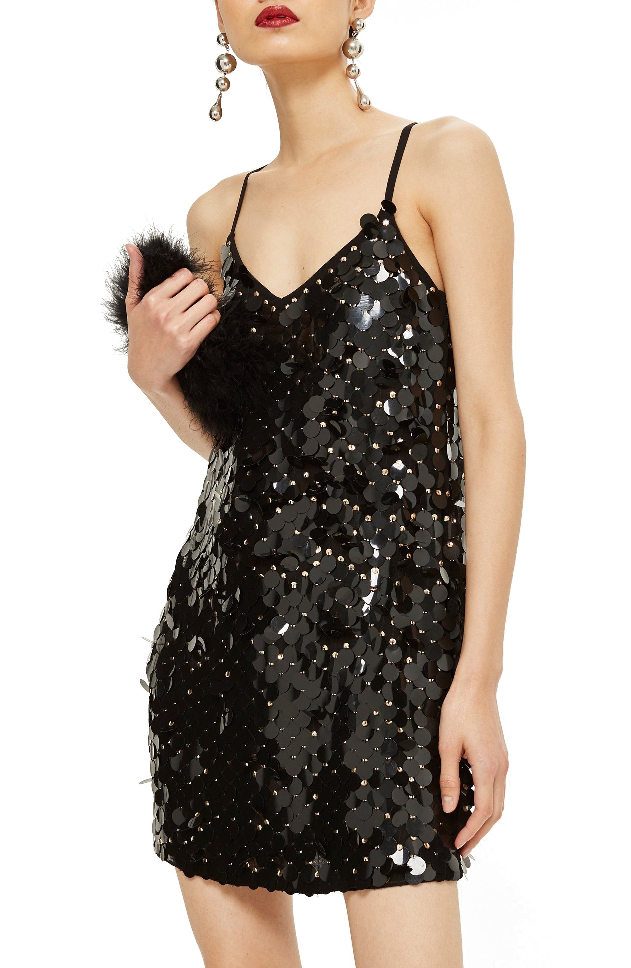 Disc Sequin Slipdress,                             Main thumbnail 1, color,                             001