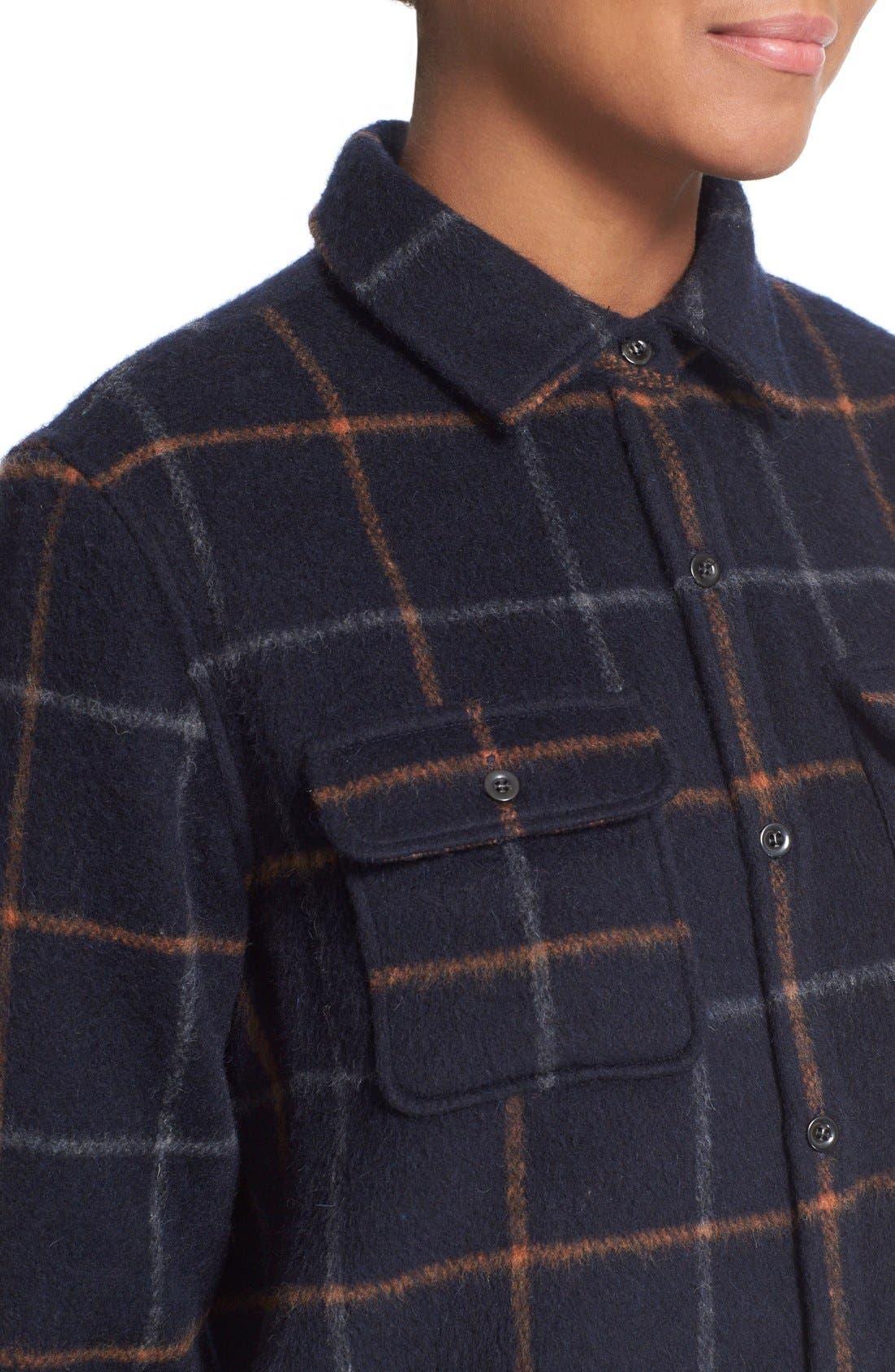 A.P.C.,                             'Surchemise' Plaid Boyfriend Shirt,                             Alternate thumbnail 3, color,                             410