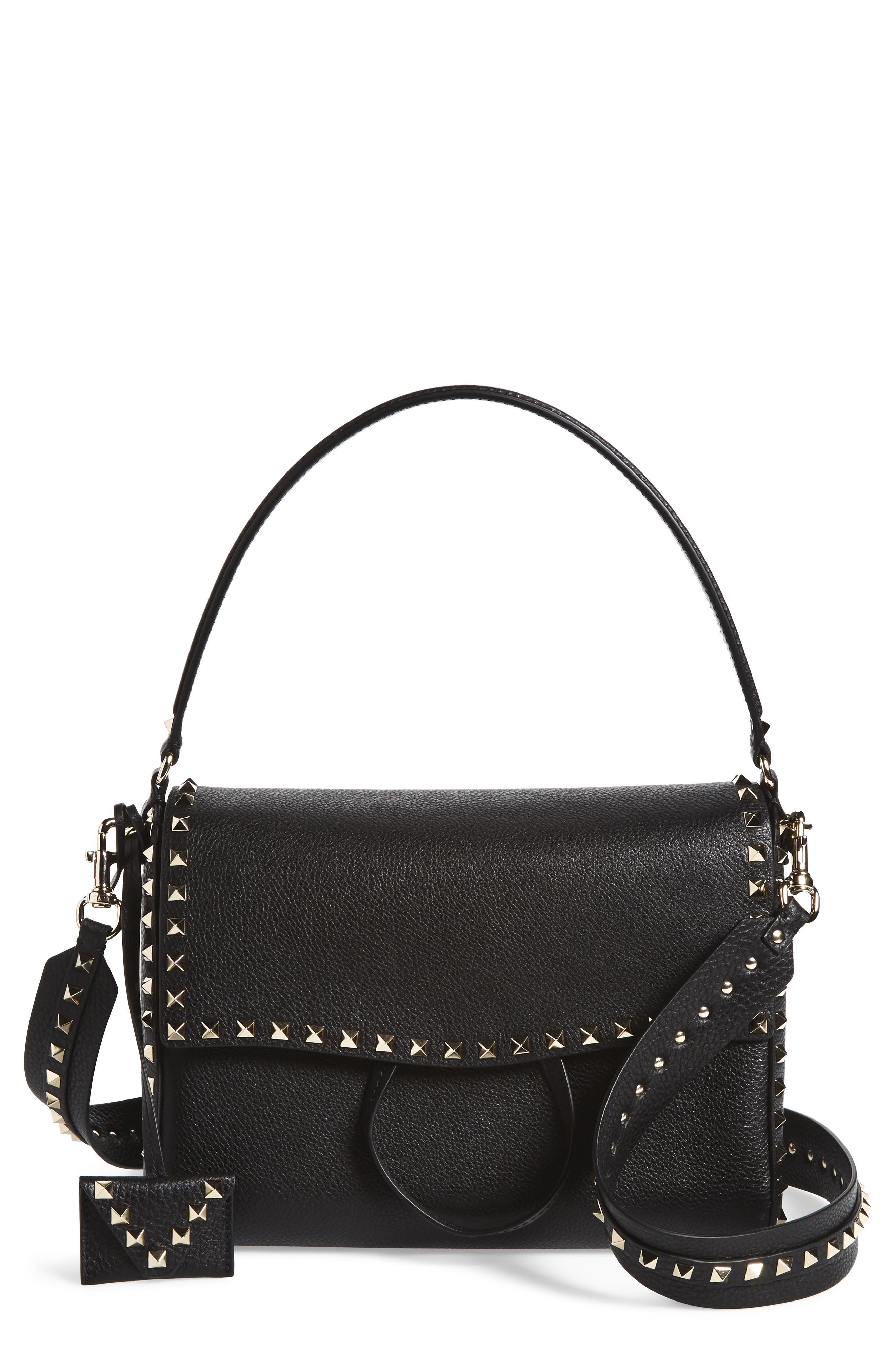 Medium Rockstud Leather Shoulder Bag,                             Main thumbnail 1, color,                             001