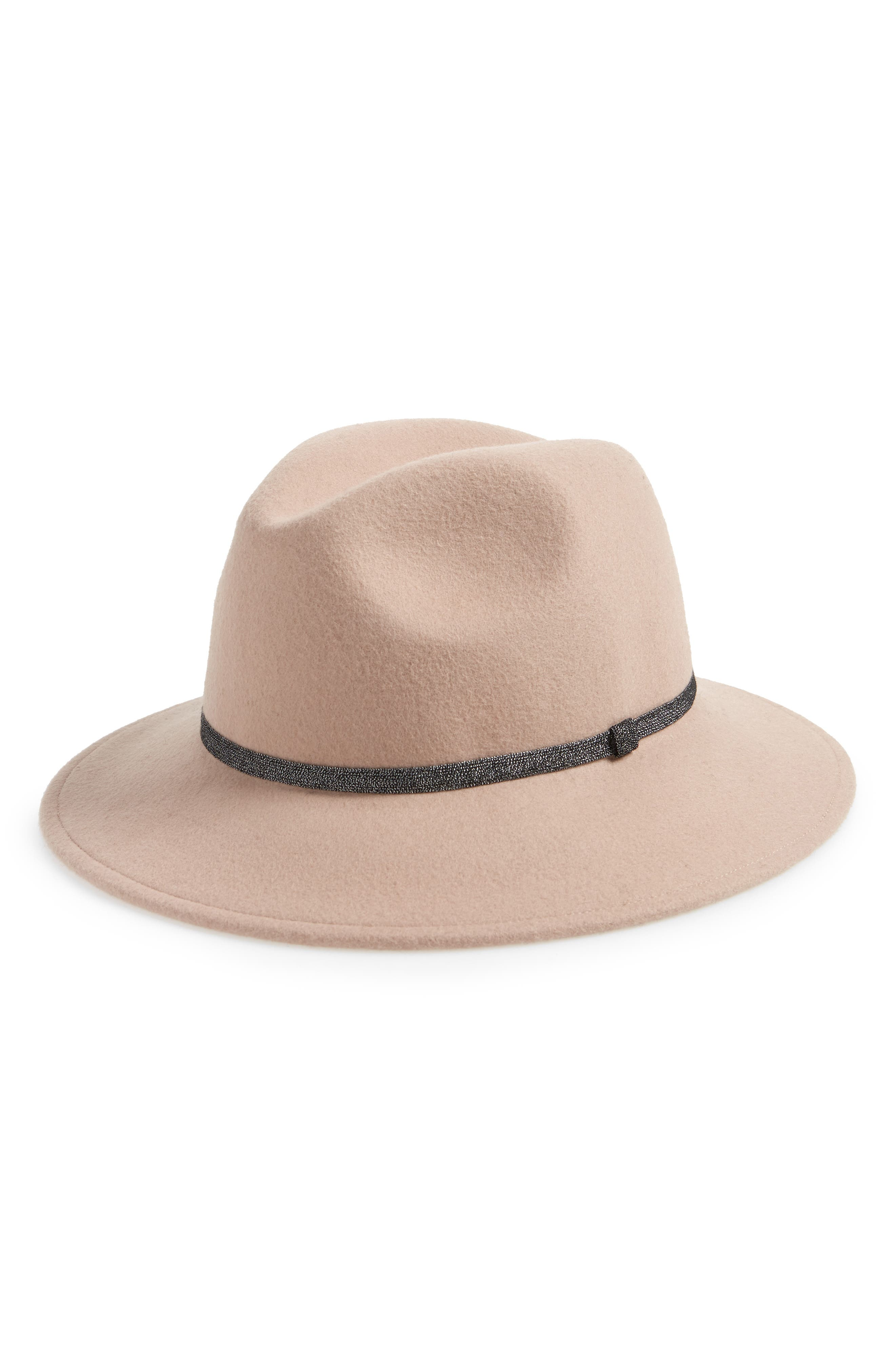 Metallic Band Wool Felt Panama Hat,                             Main thumbnail 1, color,                             TEA ROSE LIGHT