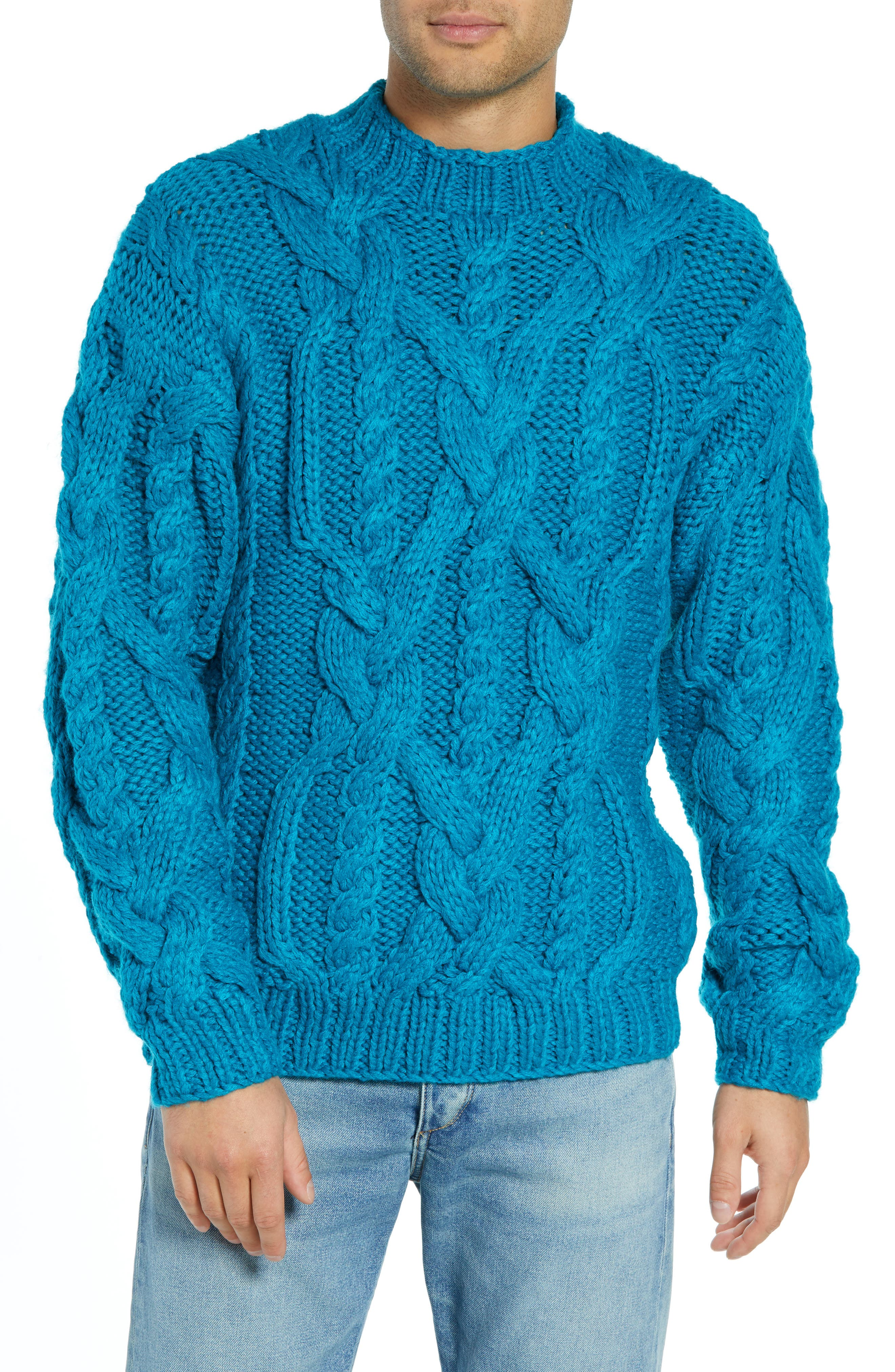 Classic Cable Knit Sweater,                         Main,                         color, BLUE