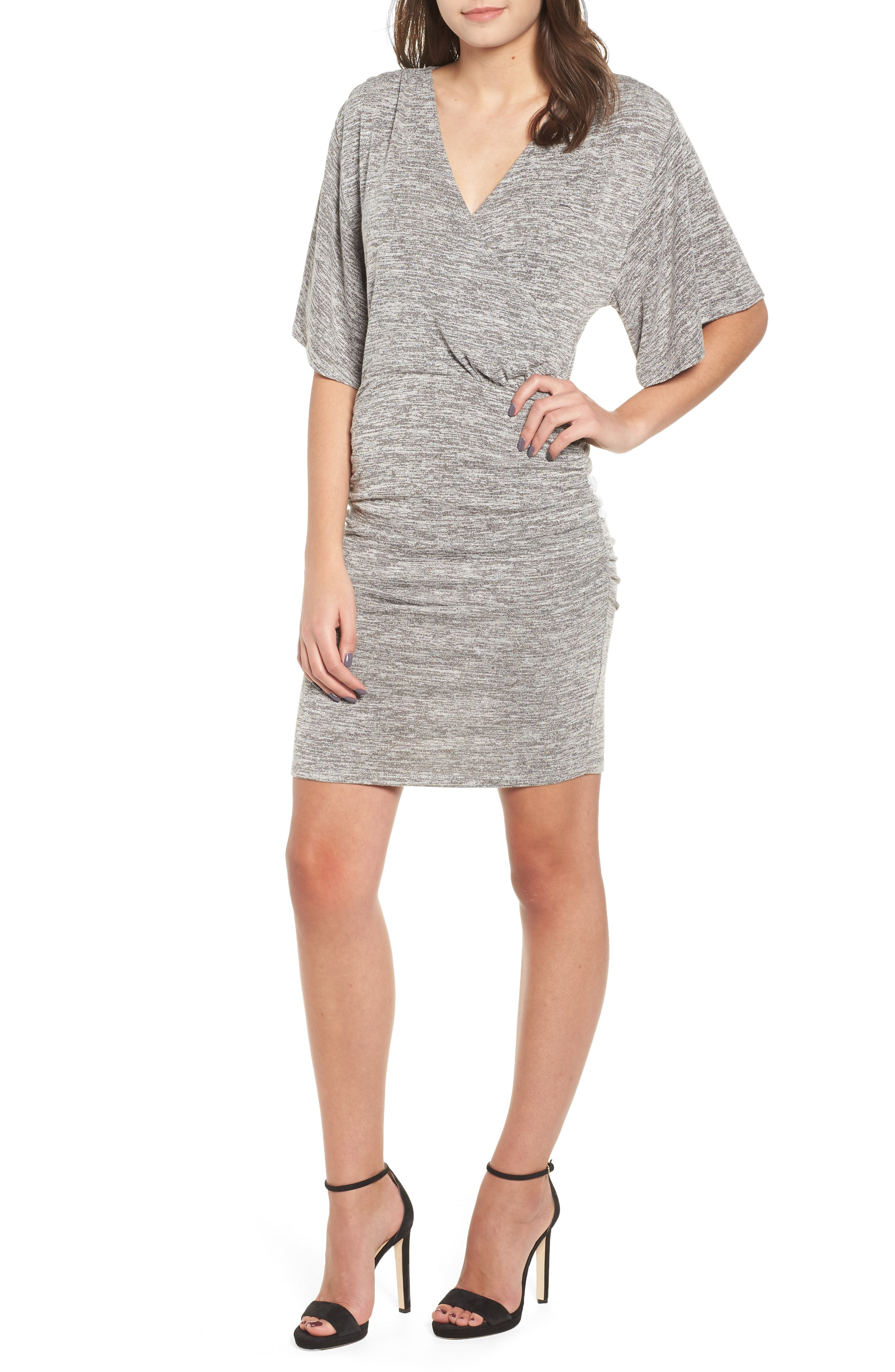 Wrap Dress,                             Main thumbnail 1, color,                             GREY CLOUDY HEATHER