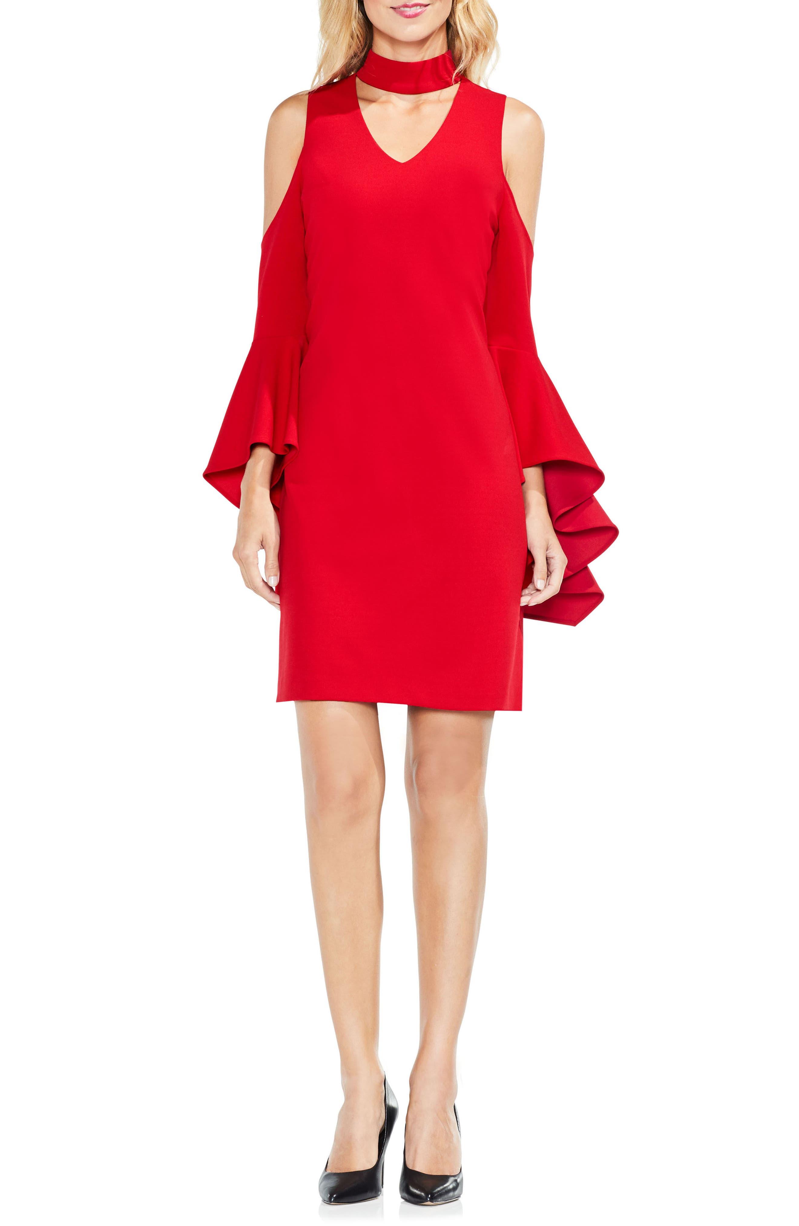 Cold Shoulder Bell Sleeve Dress,                             Alternate thumbnail 9, color,                             614