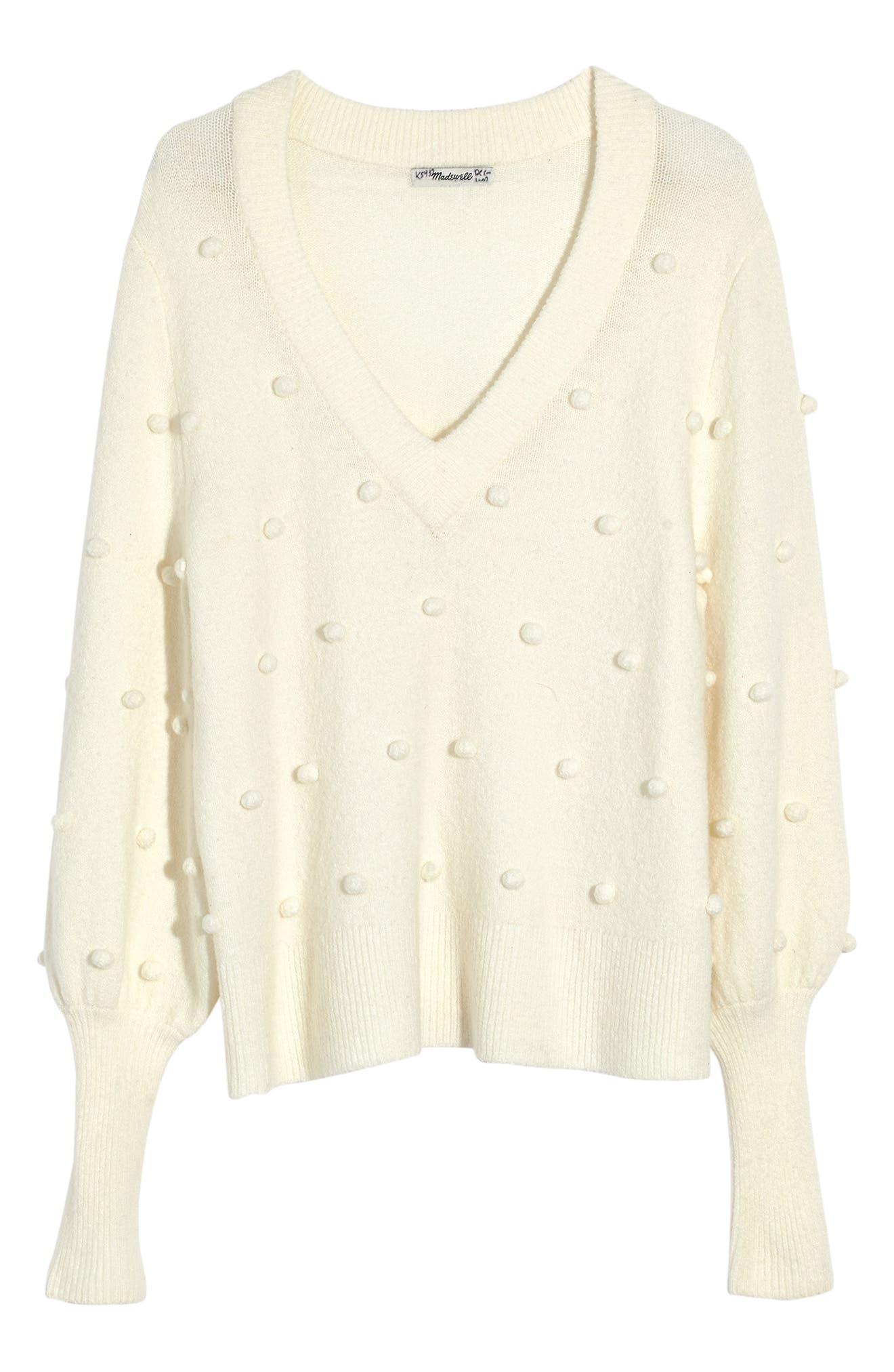 Bobble Dashwood Sweater,                             Alternate thumbnail 5, color,                             BRIGHT IVORY