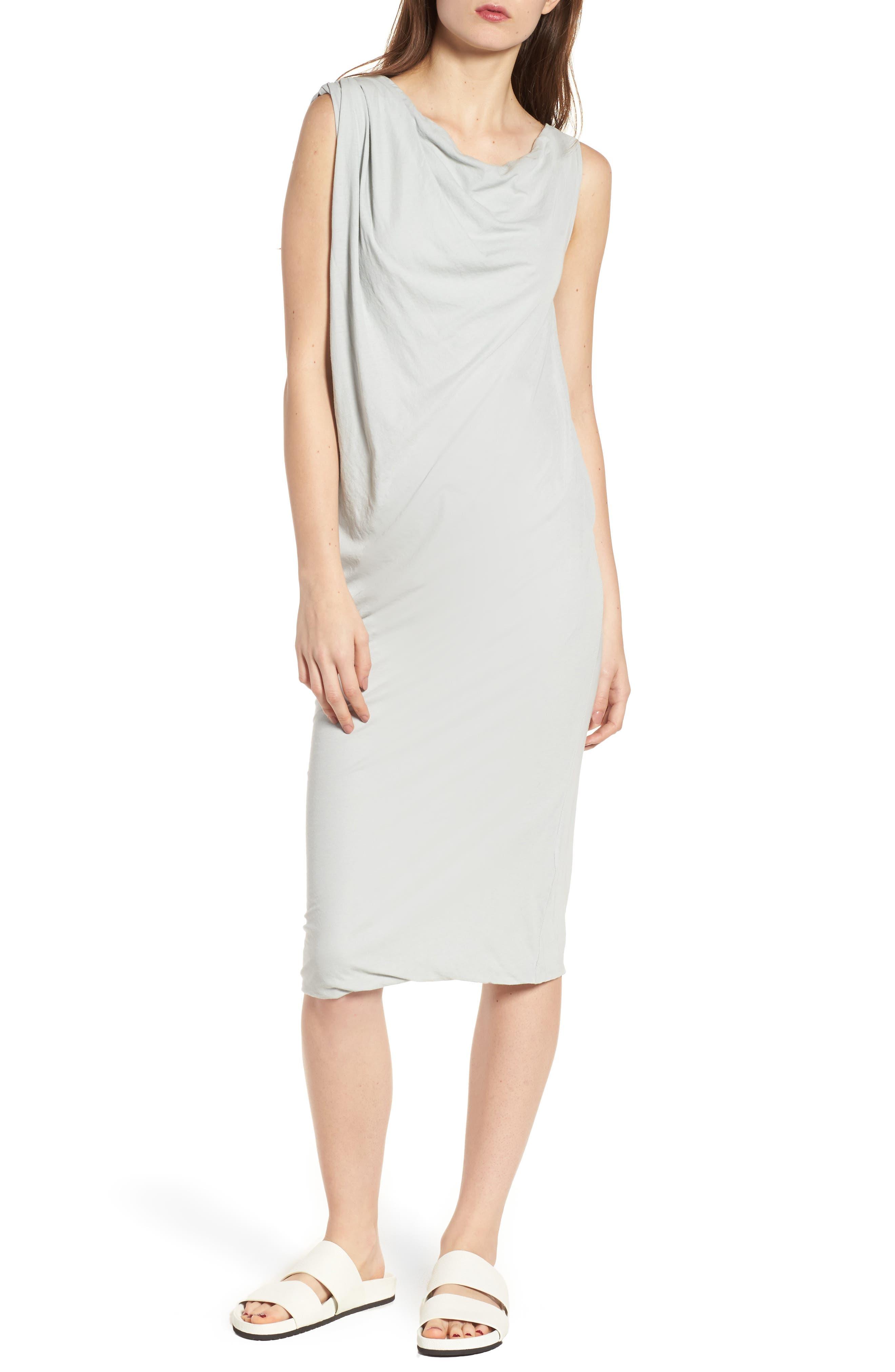Draped One-Shoulder Midi Dress,                             Main thumbnail 2, color,