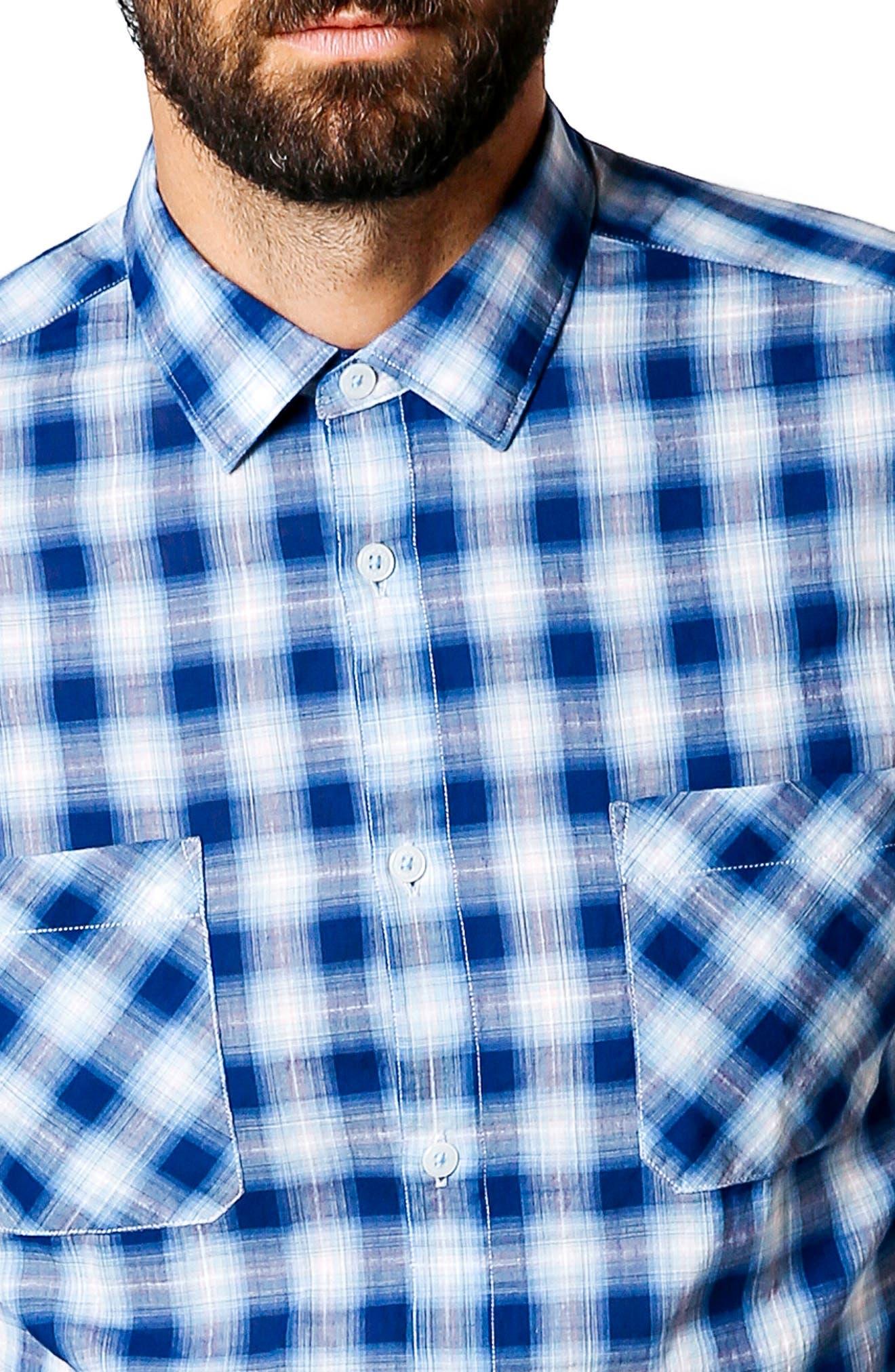 Trim Fit Plaid Sport Shirt,                             Alternate thumbnail 4, color,                             401