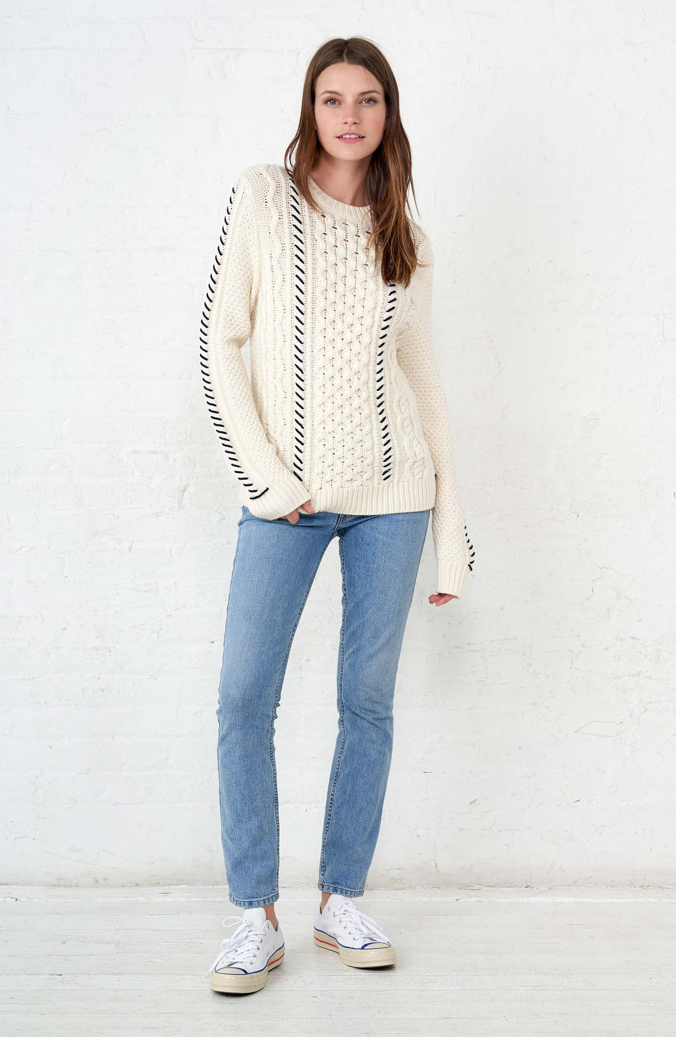 Cotton Fisherman Sweater,                             Alternate thumbnail 9, color,                             WHITE NAVY