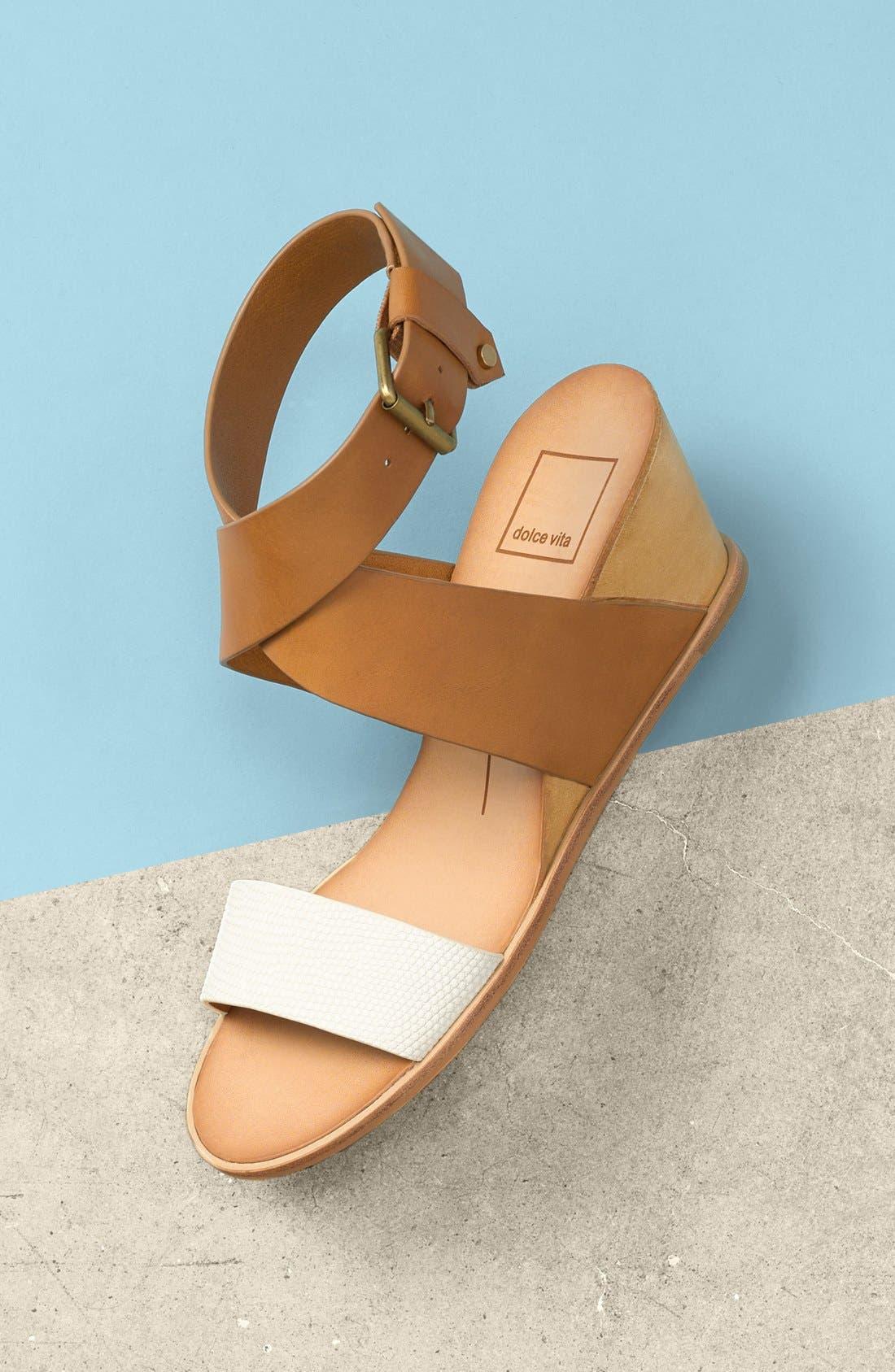 'Lola' Wedge Sandal,                             Alternate thumbnail 5, color,                             001