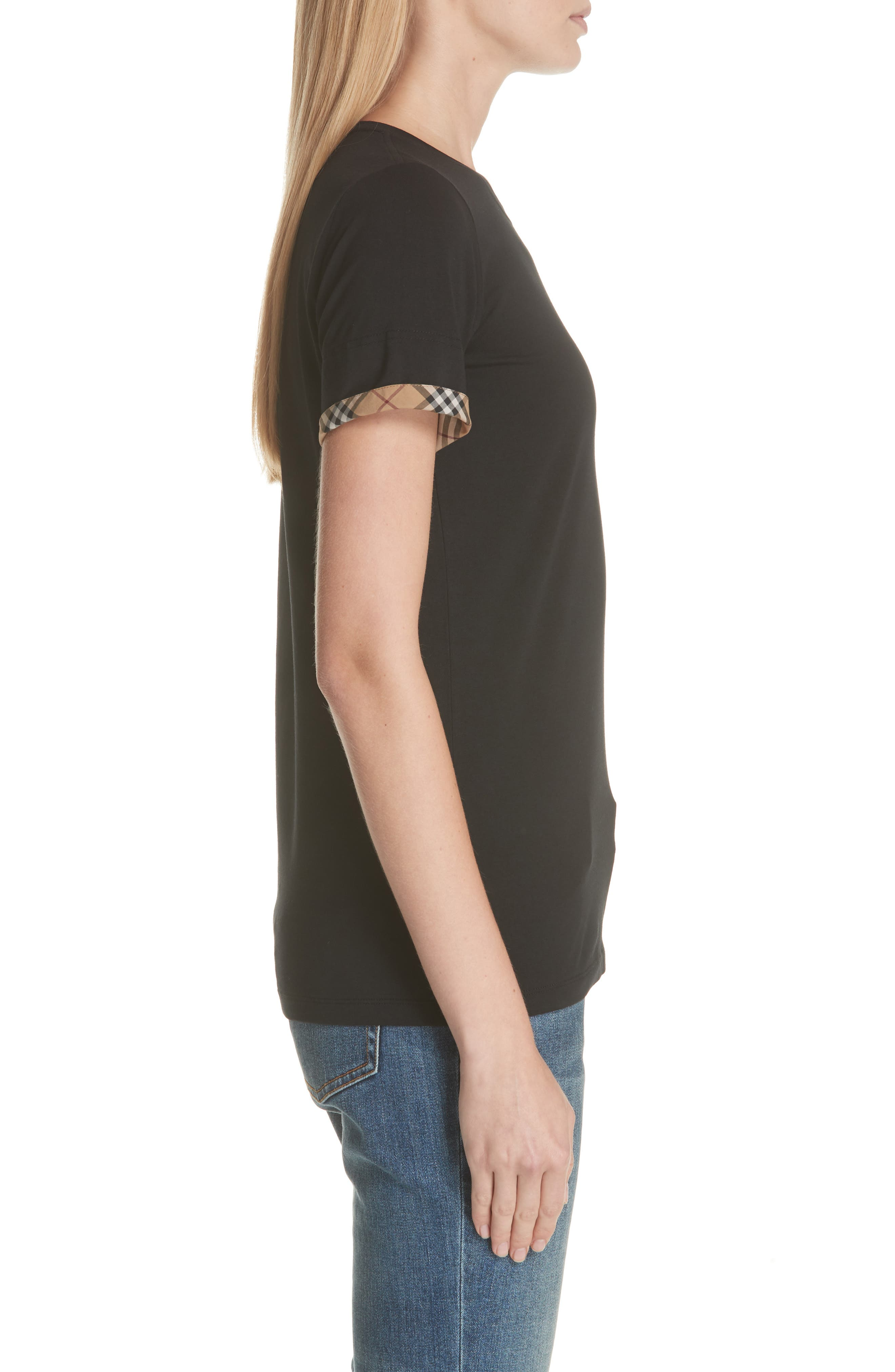 Kabini Check Cuff Stretch Cotton Tee,                             Alternate thumbnail 3, color,                             BLACK