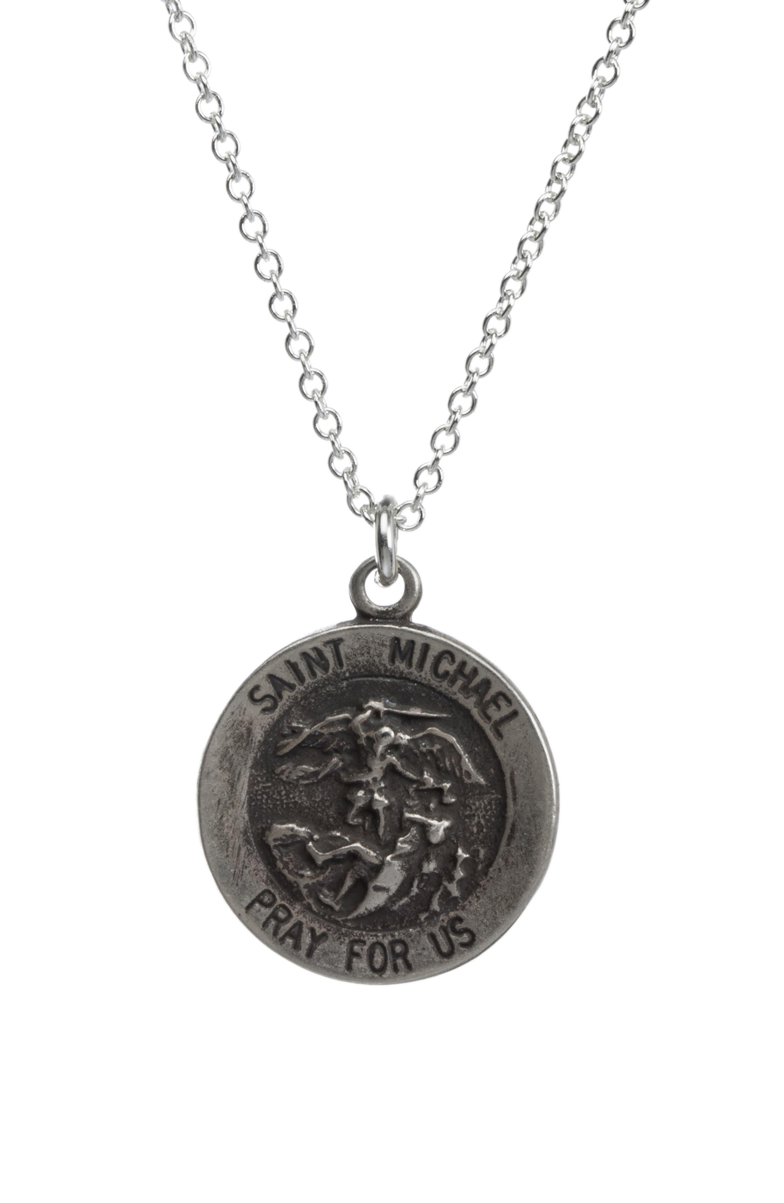 Saint Michael Pendant Necklace,                             Alternate thumbnail 4, color,                             042