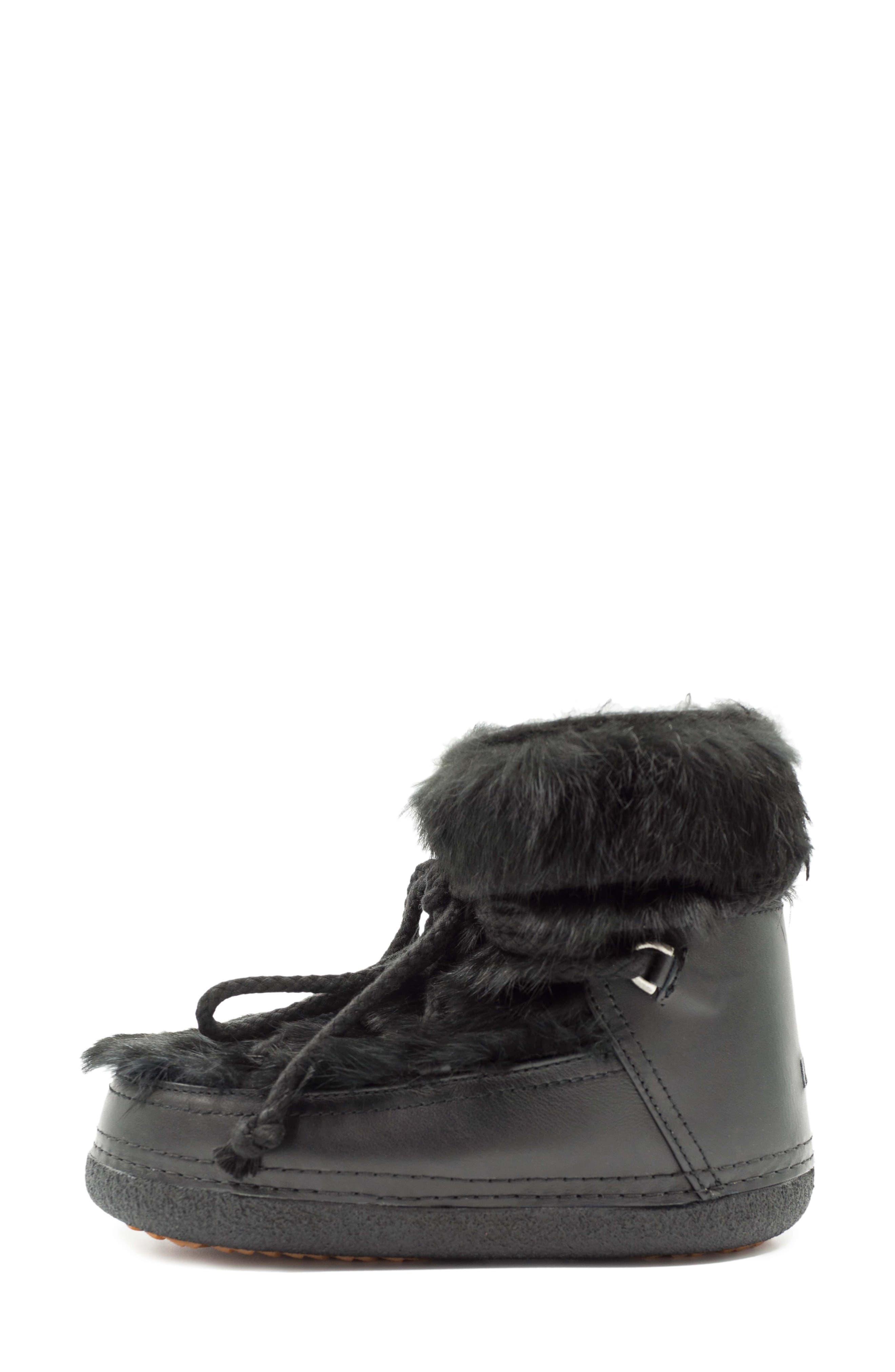 Genuine Rabbit Fur & Leather Bootie,                             Alternate thumbnail 3, color,                             BLACK