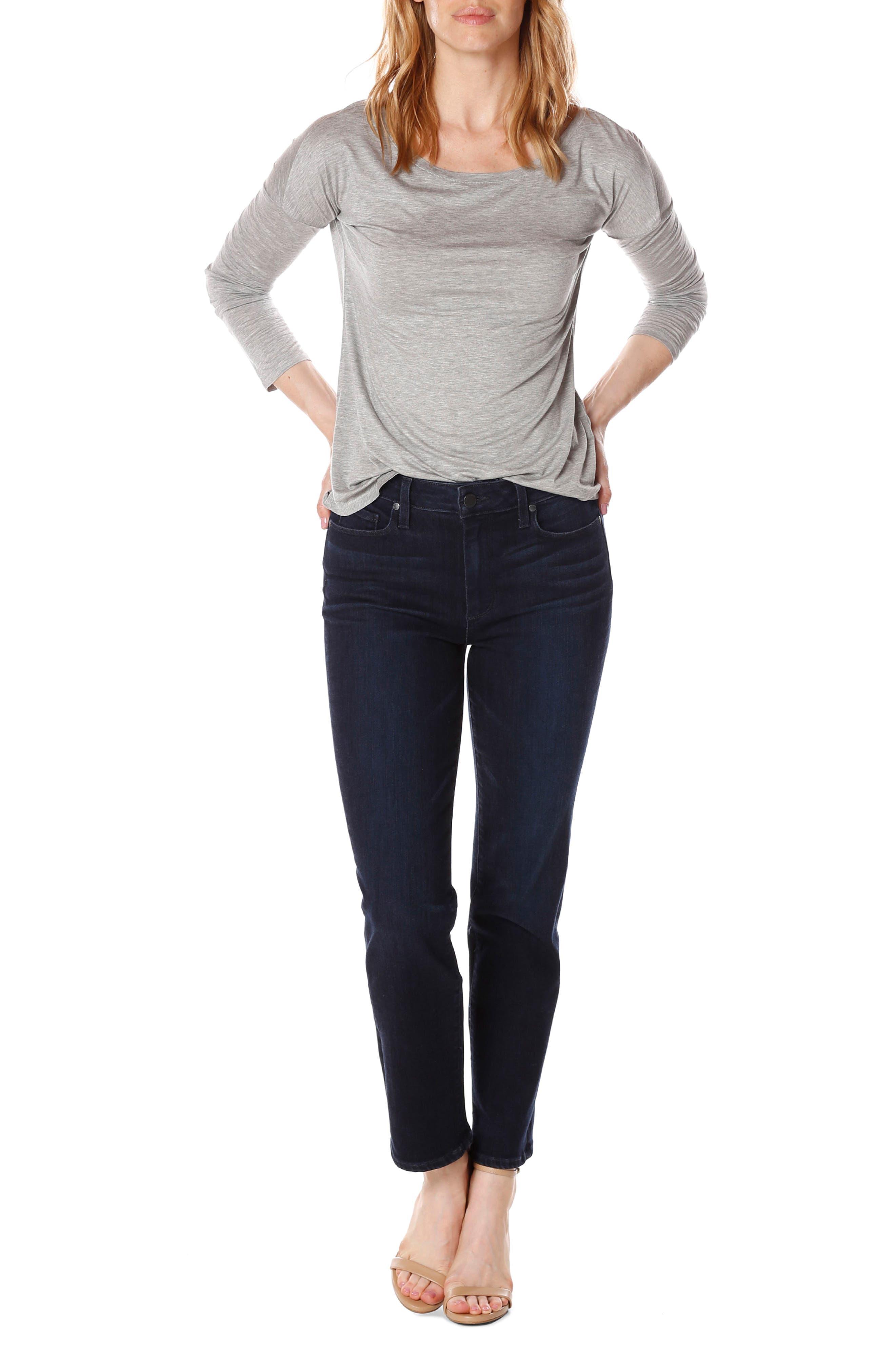 Jacqueline High Waist Crop Straight Leg Jeans,                             Alternate thumbnail 4, color,