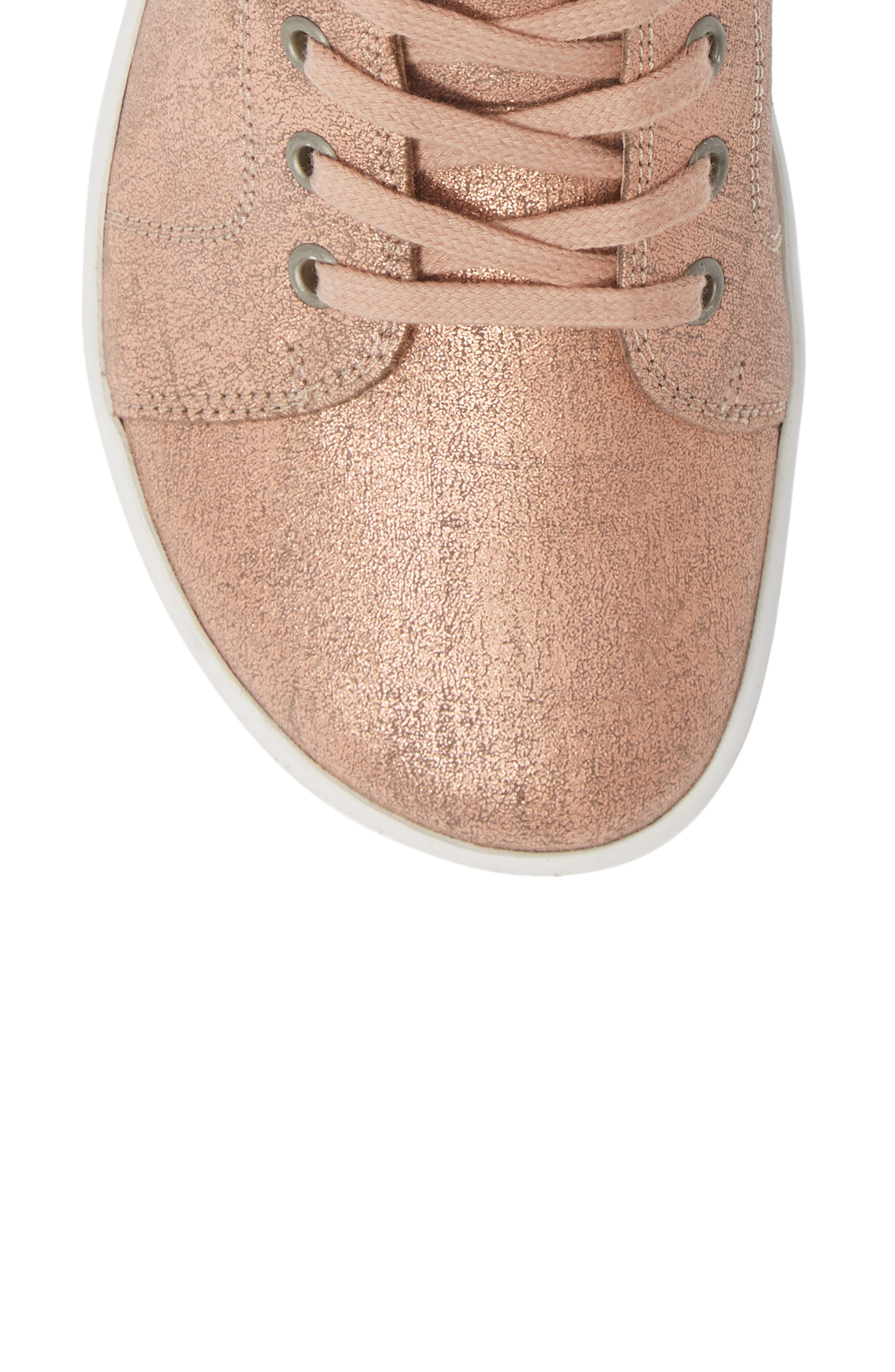 Bartlett High Top Sneaker,                             Alternate thumbnail 5, color,                             METALLIC ROSE LEATHER