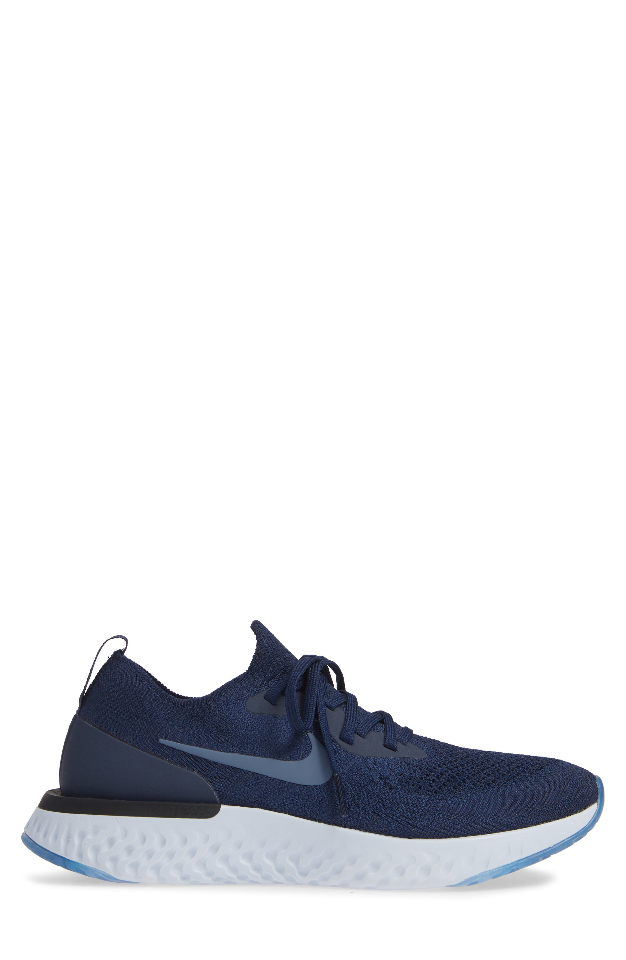 Epic React Flyknit Running Shoe,                             Alternate thumbnail 3, color,                             COLLEGE NAVY/ BLUE/ GREY
