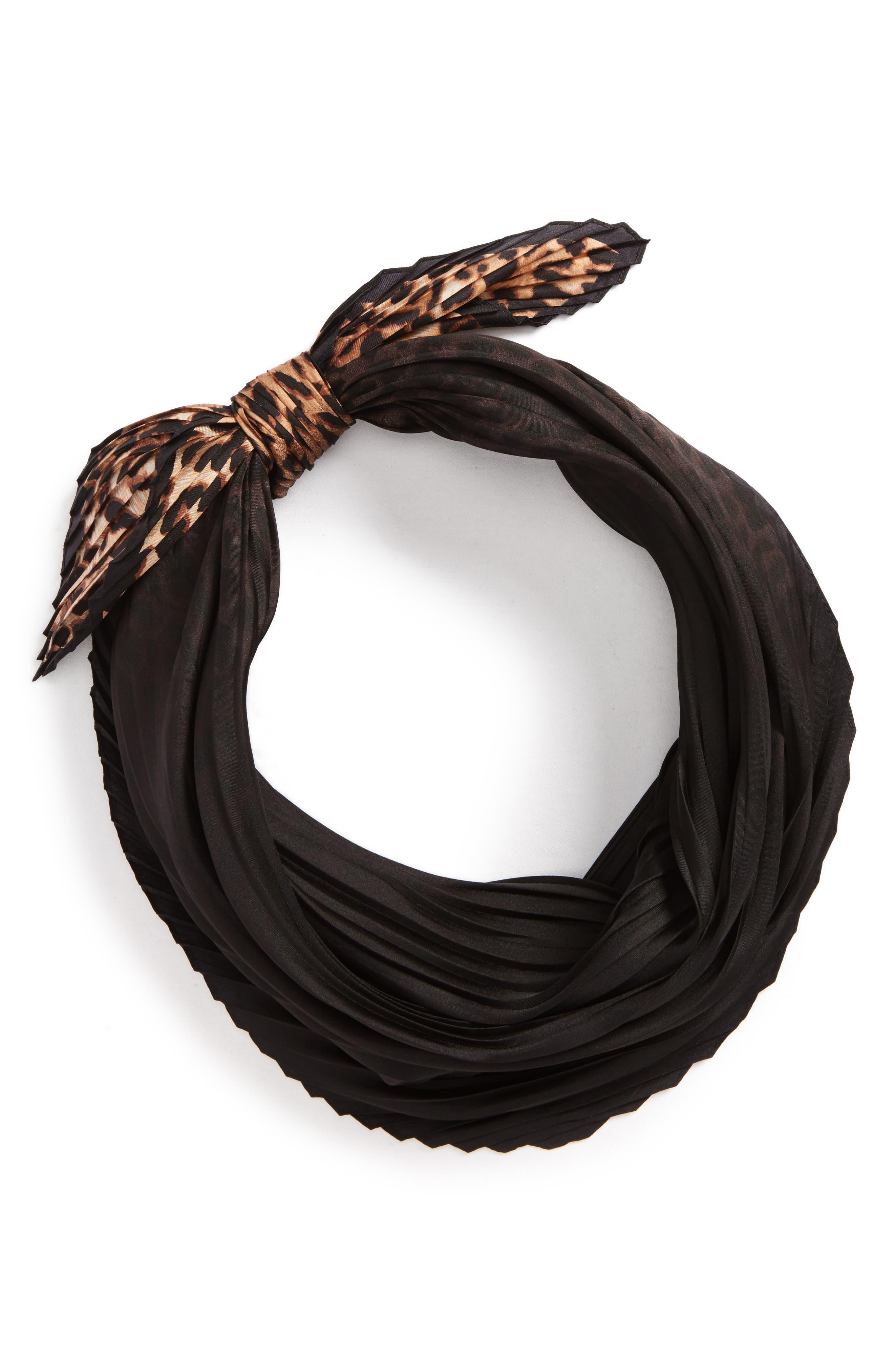 Ombré Leopard Silk Scarf,                             Alternate thumbnail 3, color,