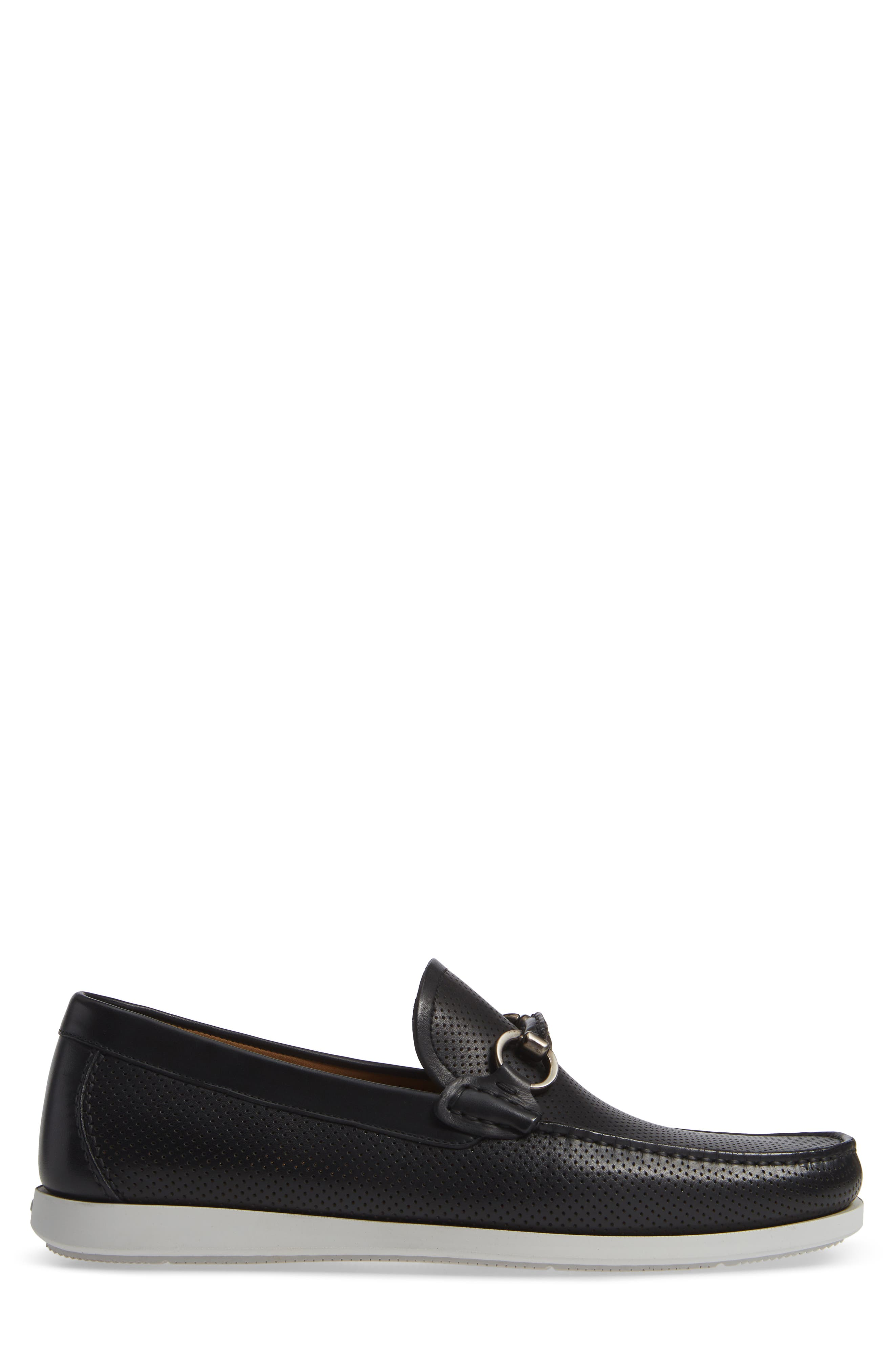 Beasley Perforated Moc Toe Bit Loafer,                             Alternate thumbnail 3, color,                             BLACK LEATHER