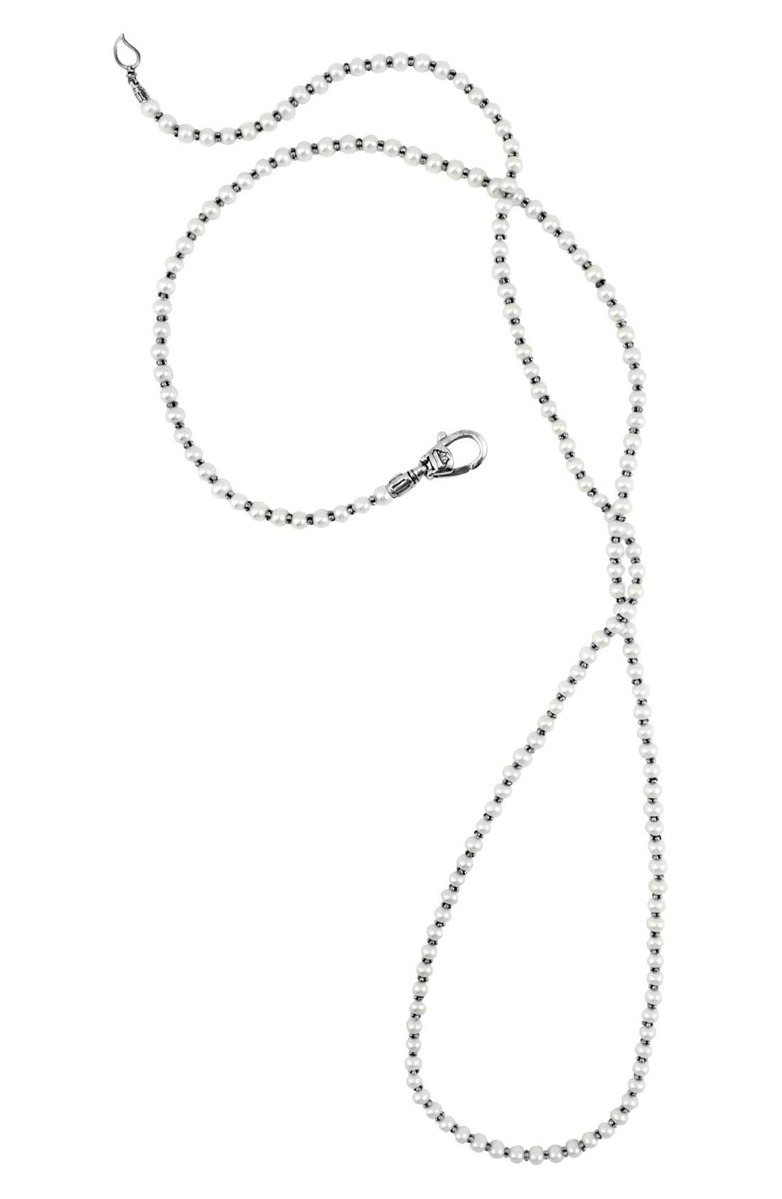 'Luna' Long Micro Bead & Pearl Necklace,                         Main,                         color, SILVER/ PEARL
