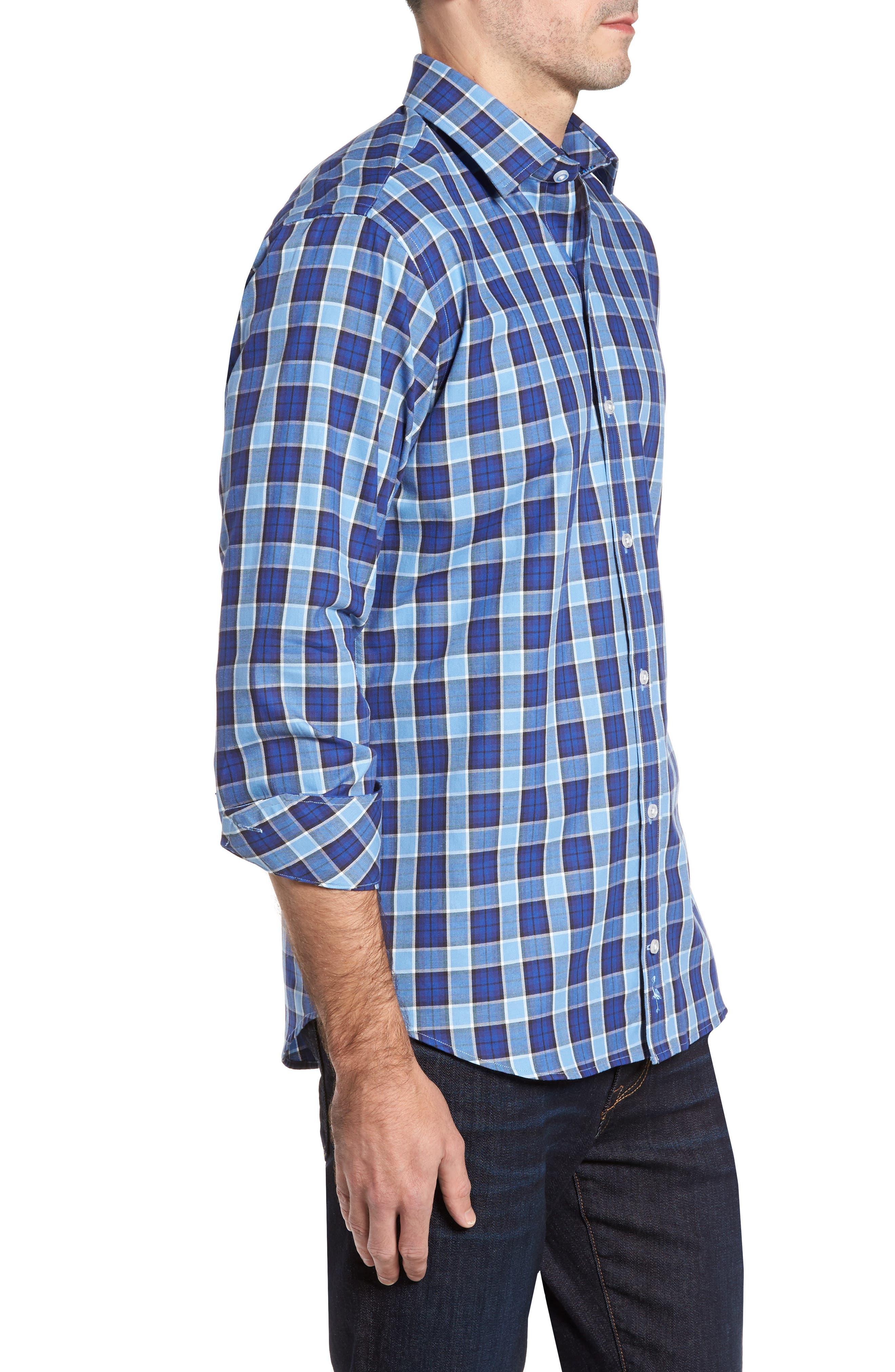 Boothville Check Sport Shirt,                             Alternate thumbnail 3, color,                             416
