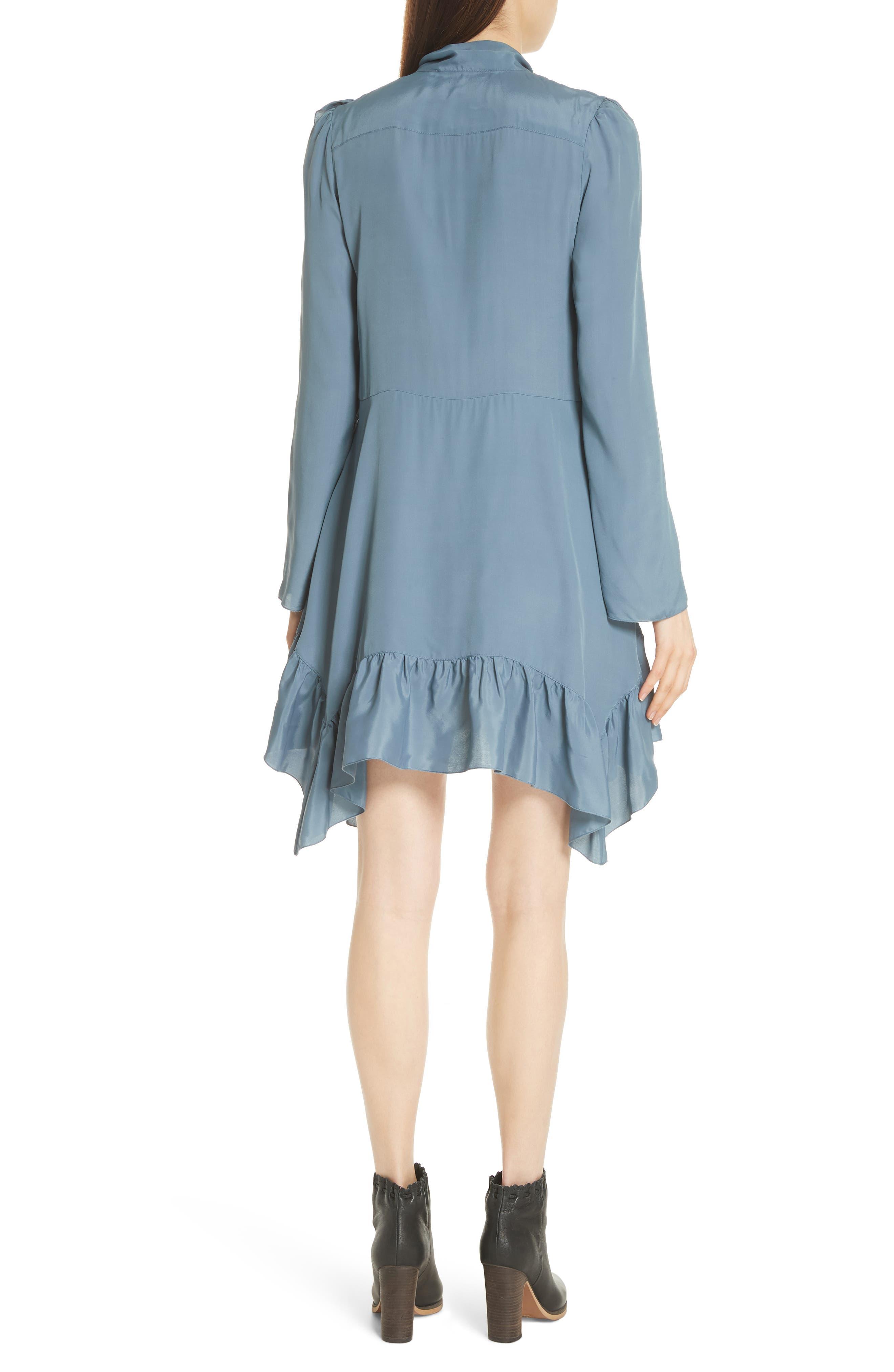 Tie Neck Ruffle Hem Dress,                             Alternate thumbnail 2, color,                             MIRAGE BLUE
