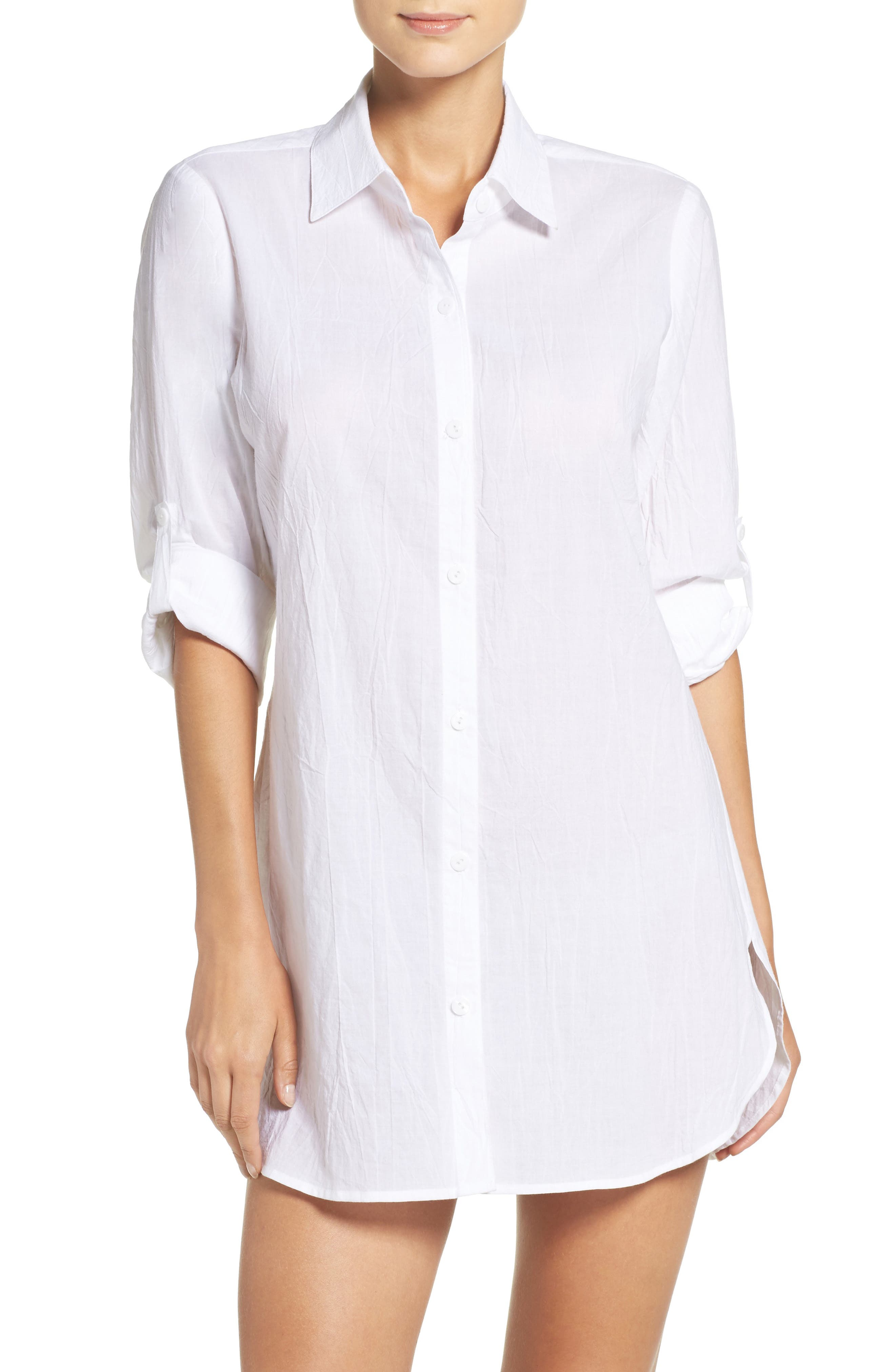 Boyfriend Shirt Cover-Up,                         Main,                         color, WHITE/ WHITE