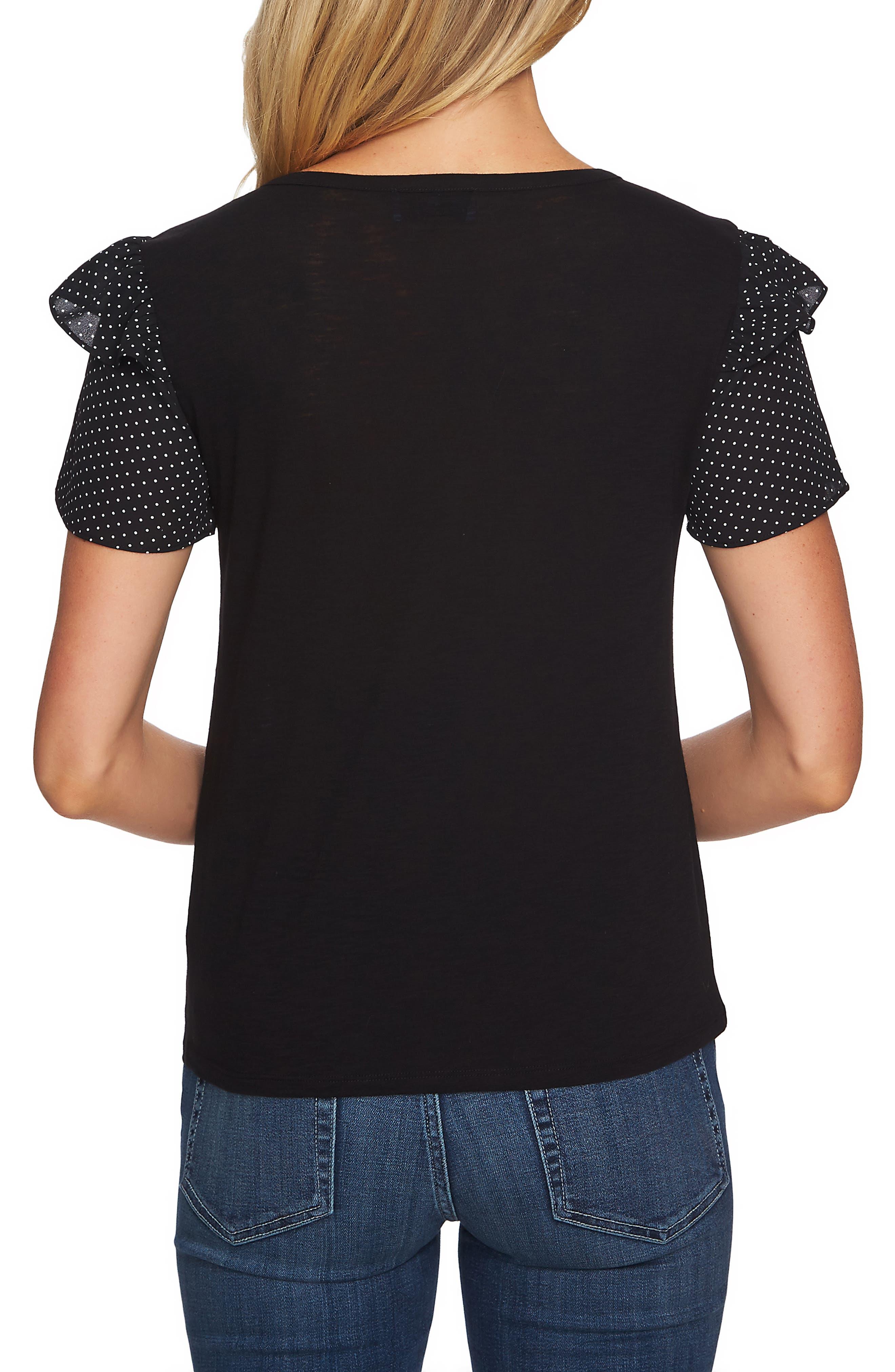 CECE,                             Mix Media Ruffle Sleeve Cotton Blend Top,                             Alternate thumbnail 2, color,                             RICK BLACK
