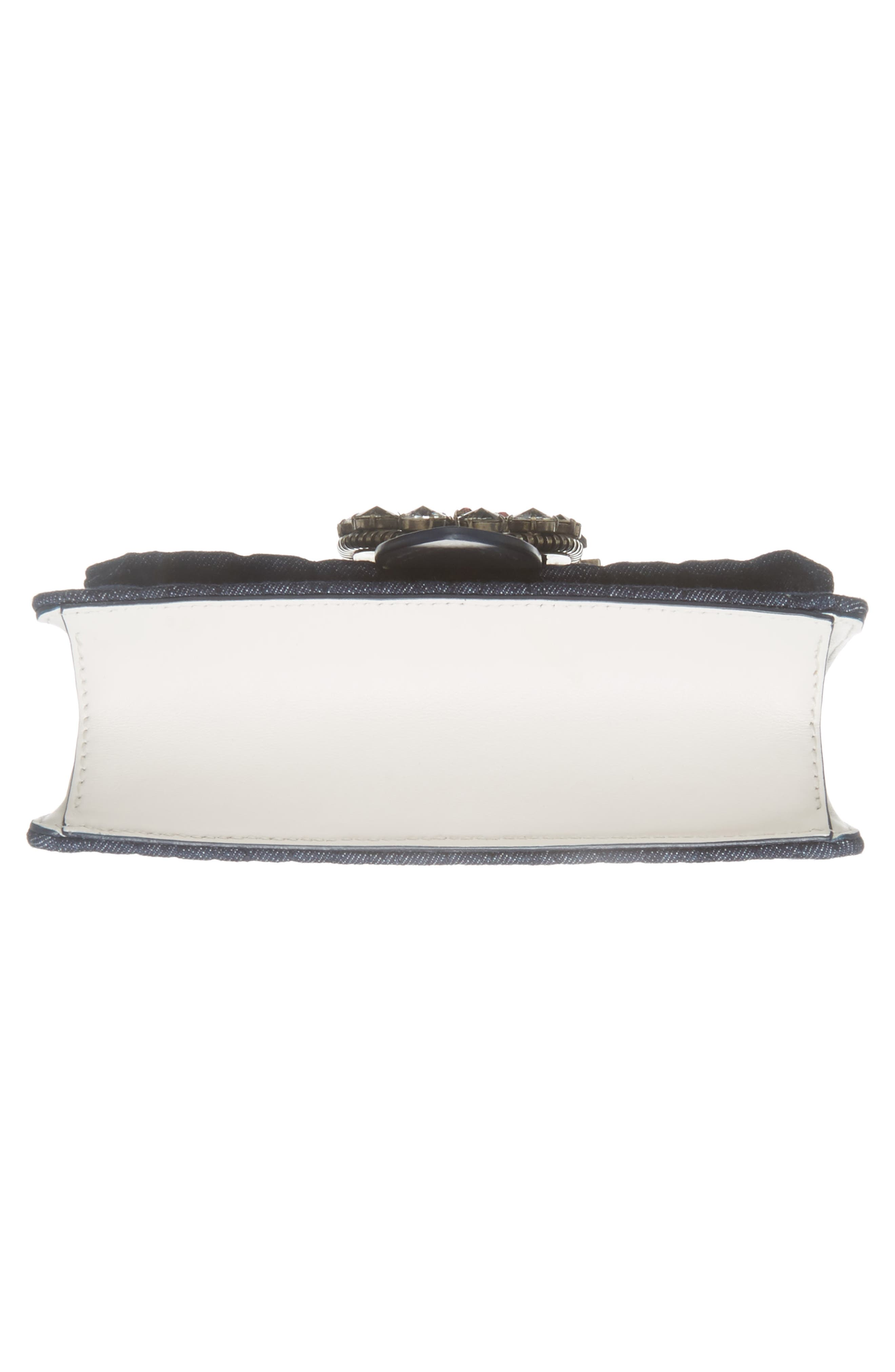 Matelassé Denim Embellished Shoulder Bag,                             Alternate thumbnail 6, color,                             BLU/ BIANCO
