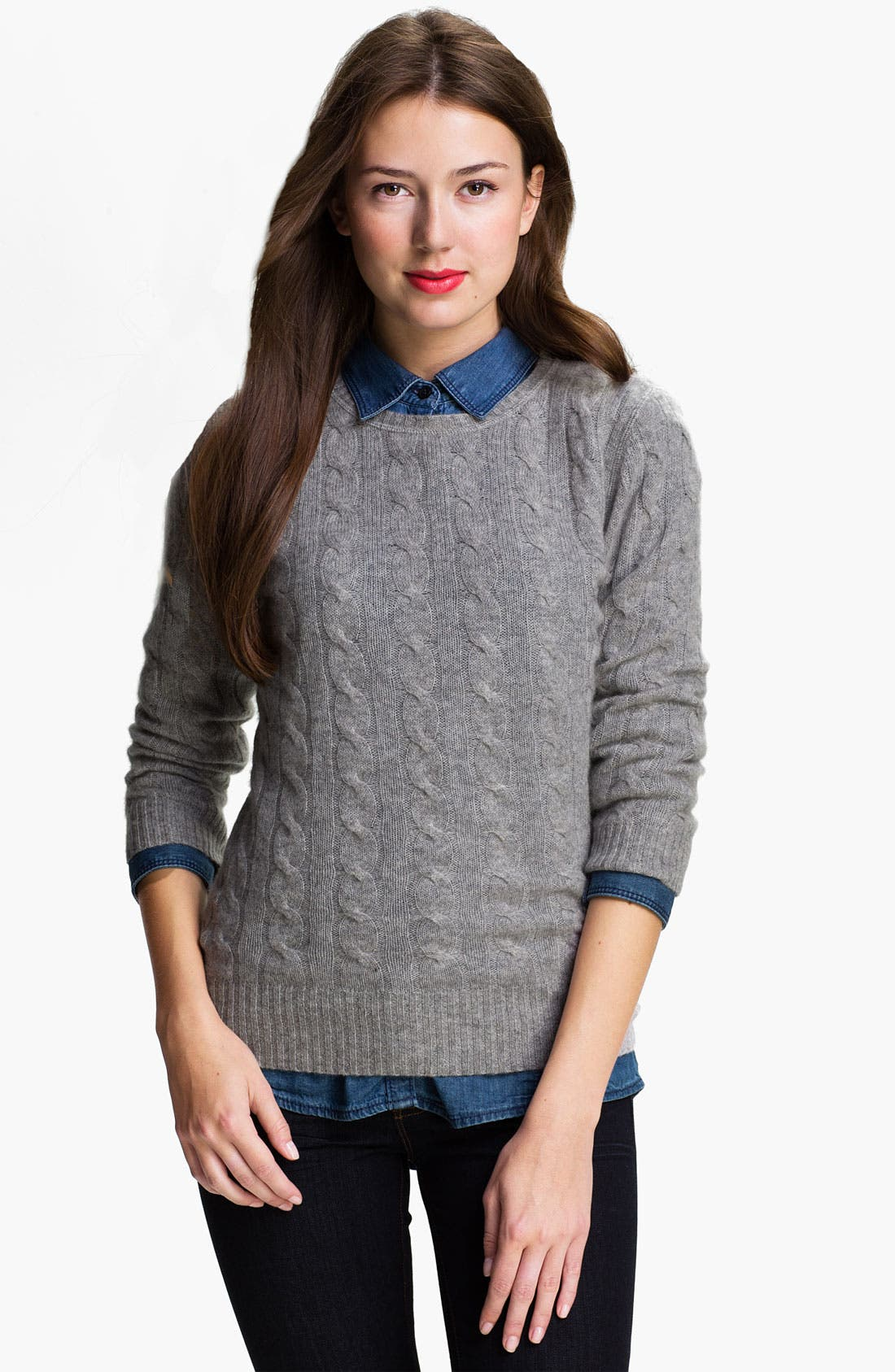 Cable Cashmere Sweater,                             Main thumbnail 1, color,                             062