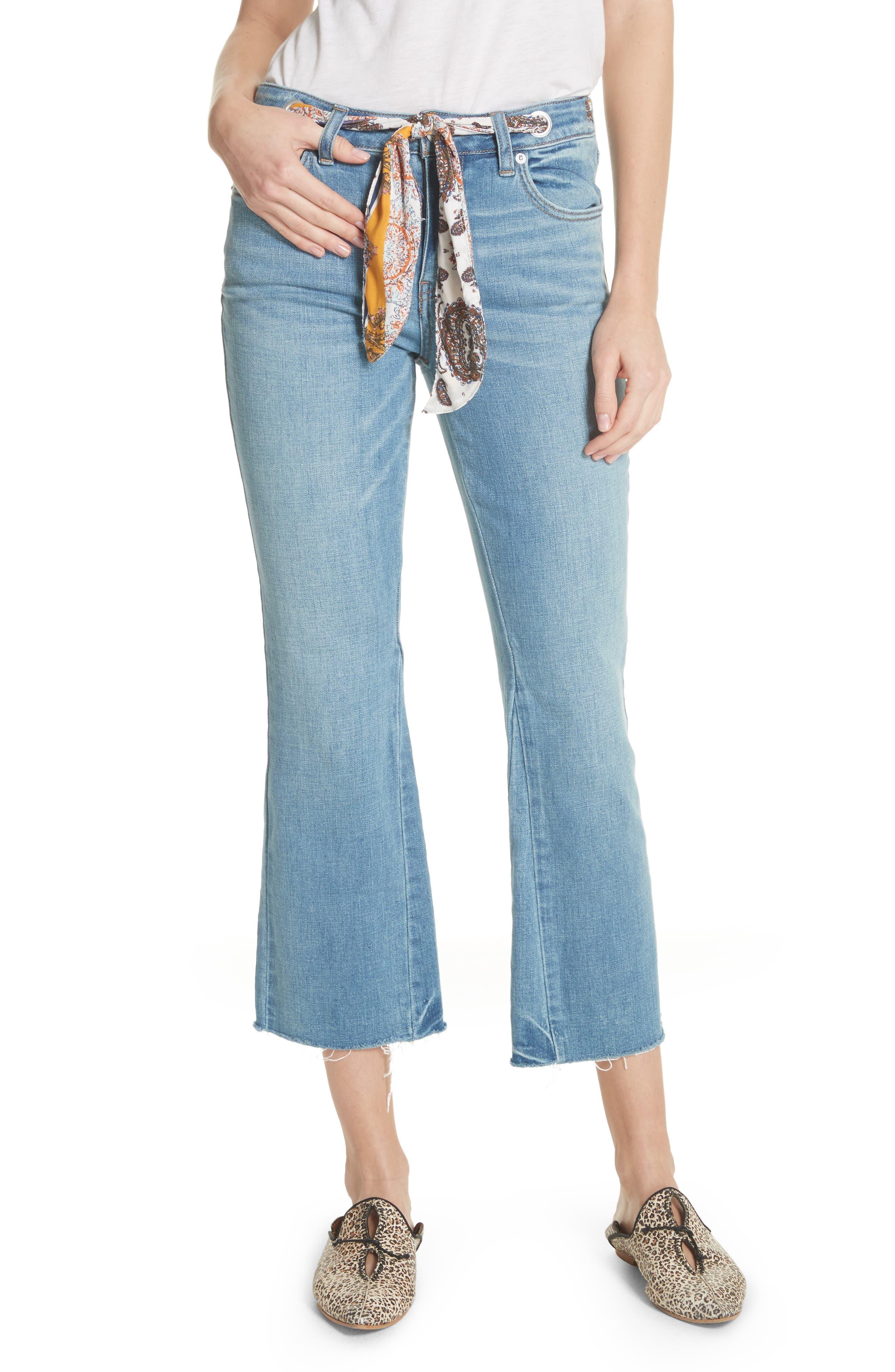 Belt Out High Waist Crop Bootcut Jeans,                             Main thumbnail 1, color,