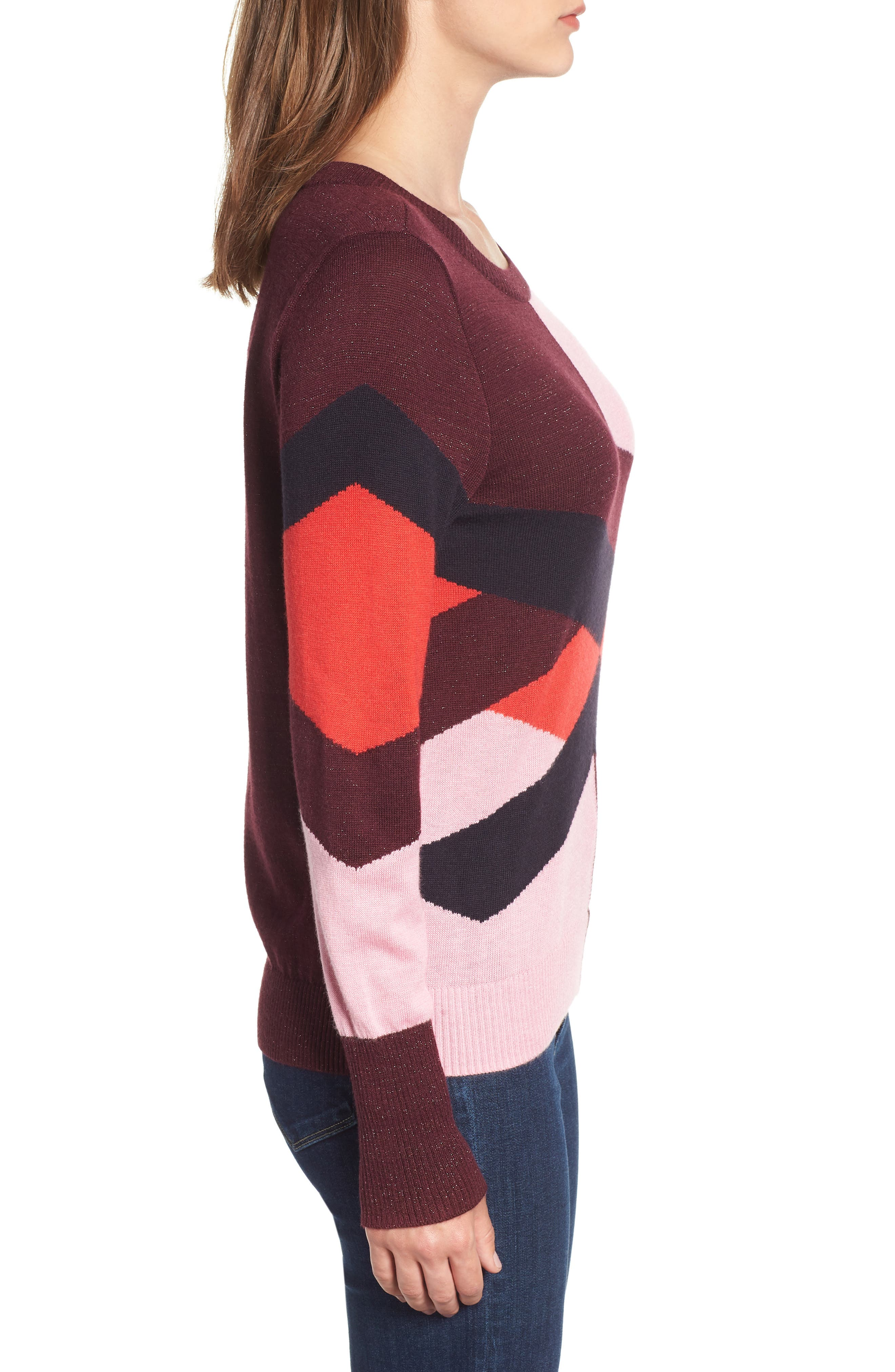 Intarsia Sweater,                             Alternate thumbnail 3, color,                             PINK STORM GRAPHIC INTARSIA