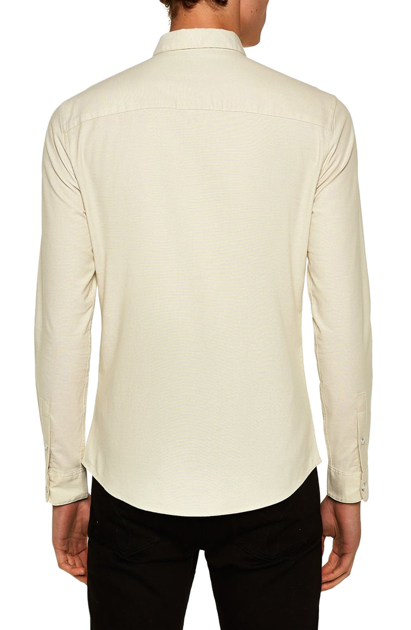 Muscle Fit Stripe Oxford Shirt,                             Alternate thumbnail 3, color,                             STONE