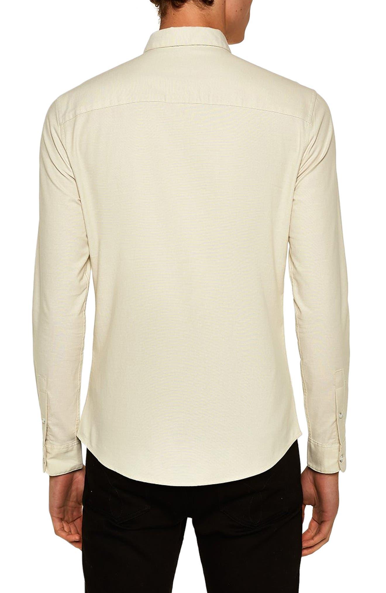 TOPMAN,                             Muscle Fit Stripe Oxford Shirt,                             Alternate thumbnail 3, color,                             250