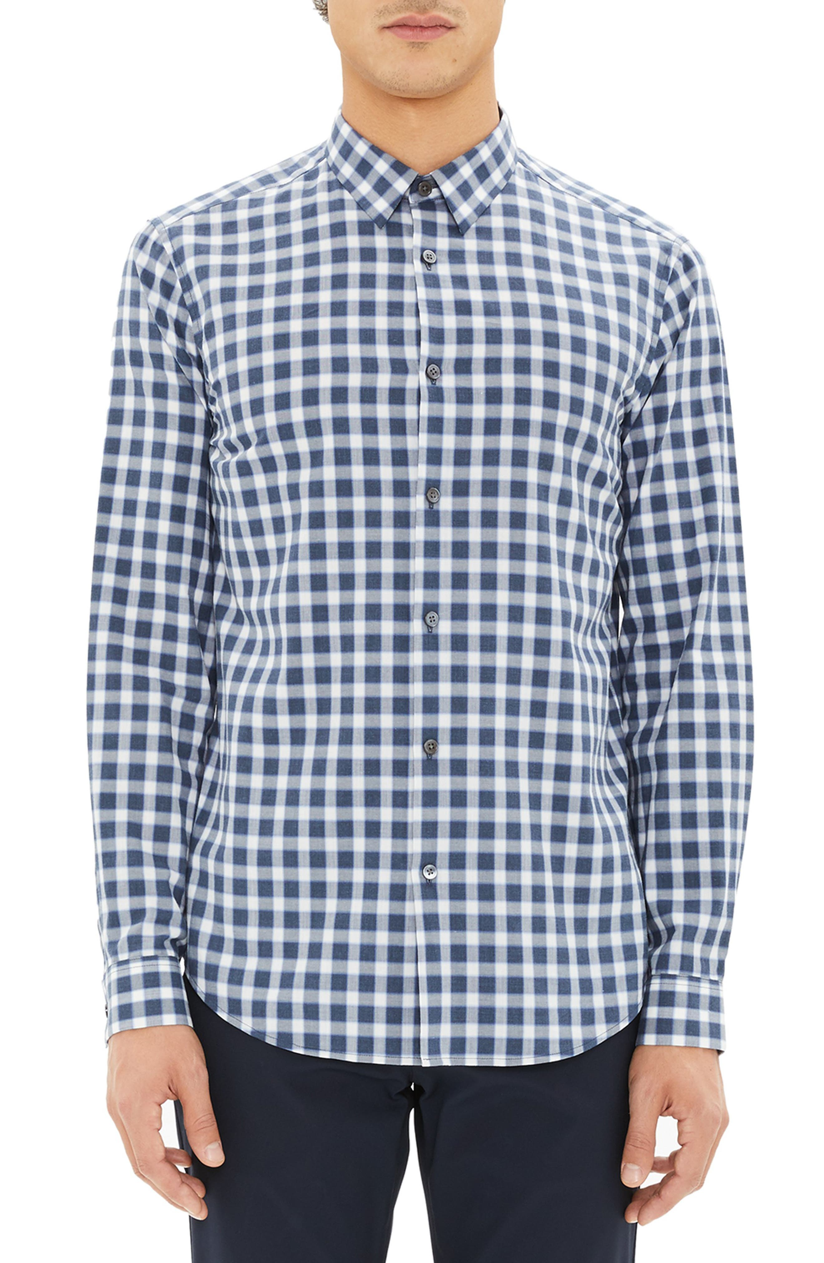 Men'S Irving Flannel Check Sport Shirt in Admiral Check