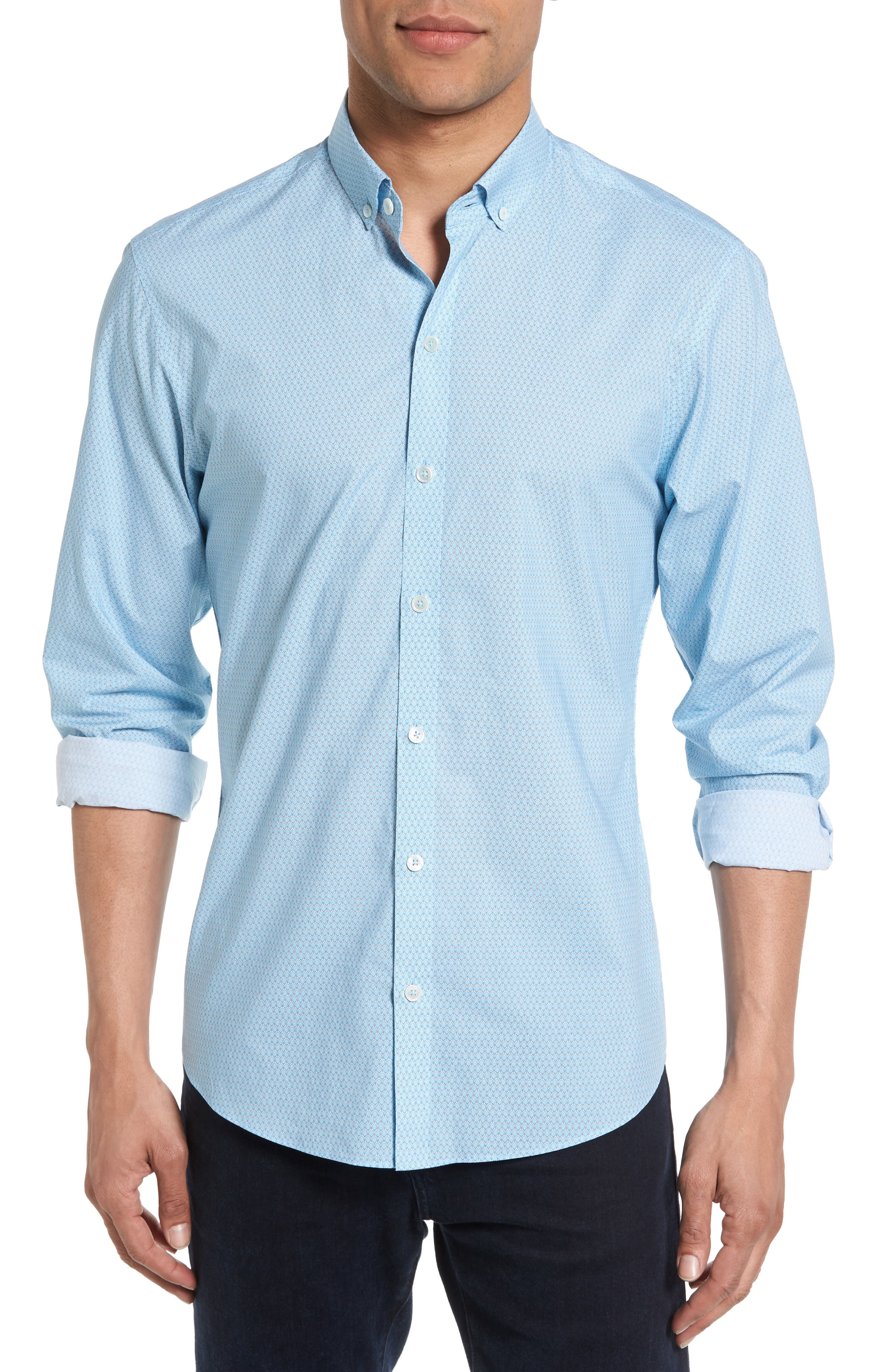 Dakotah Trim Fit Print Sport Shirt,                             Main thumbnail 1, color,                             LIGHT BLUE