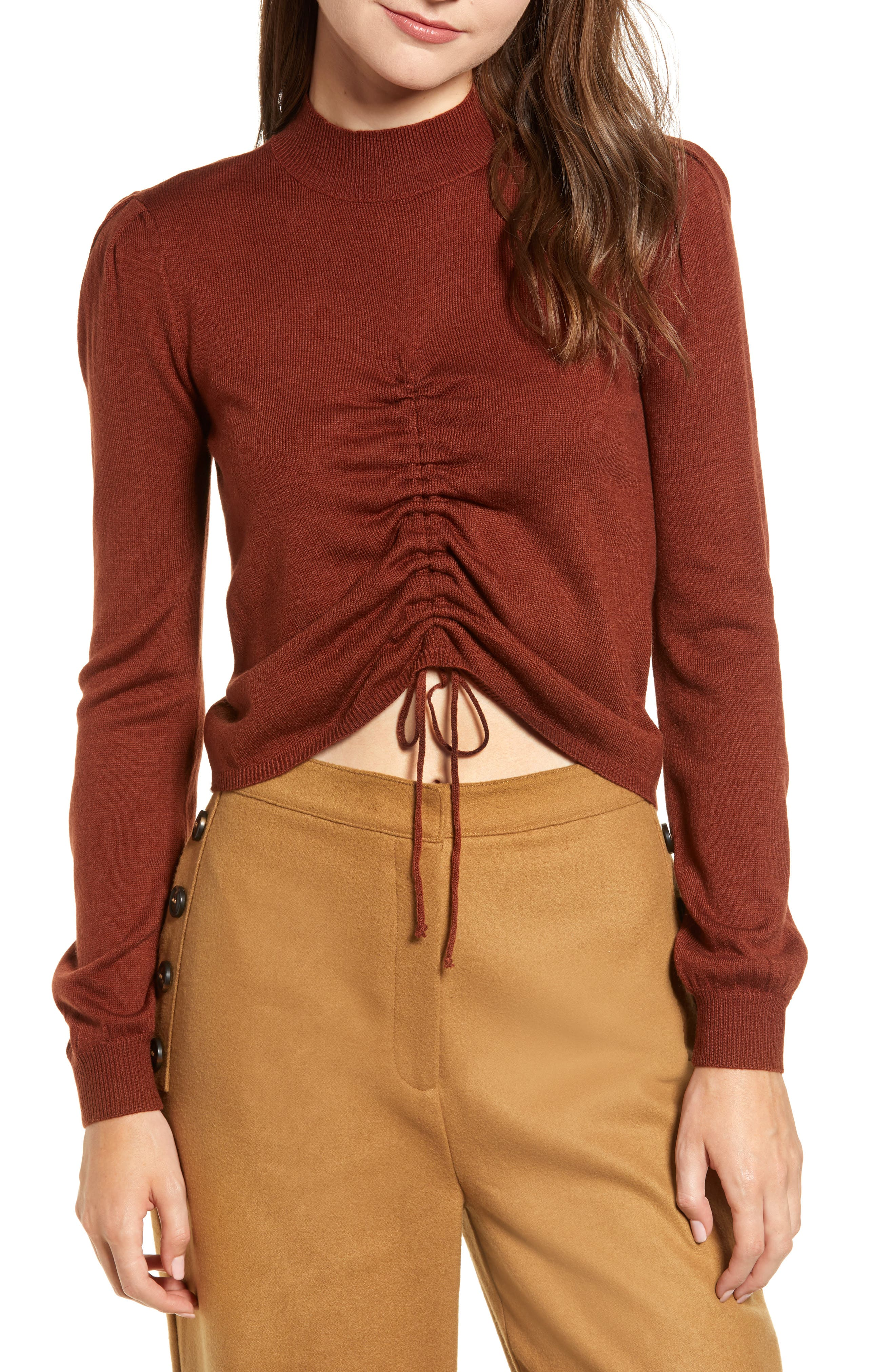 Chriselle Lim Madison Ruched Sweater,                         Main,                         color, RUST
