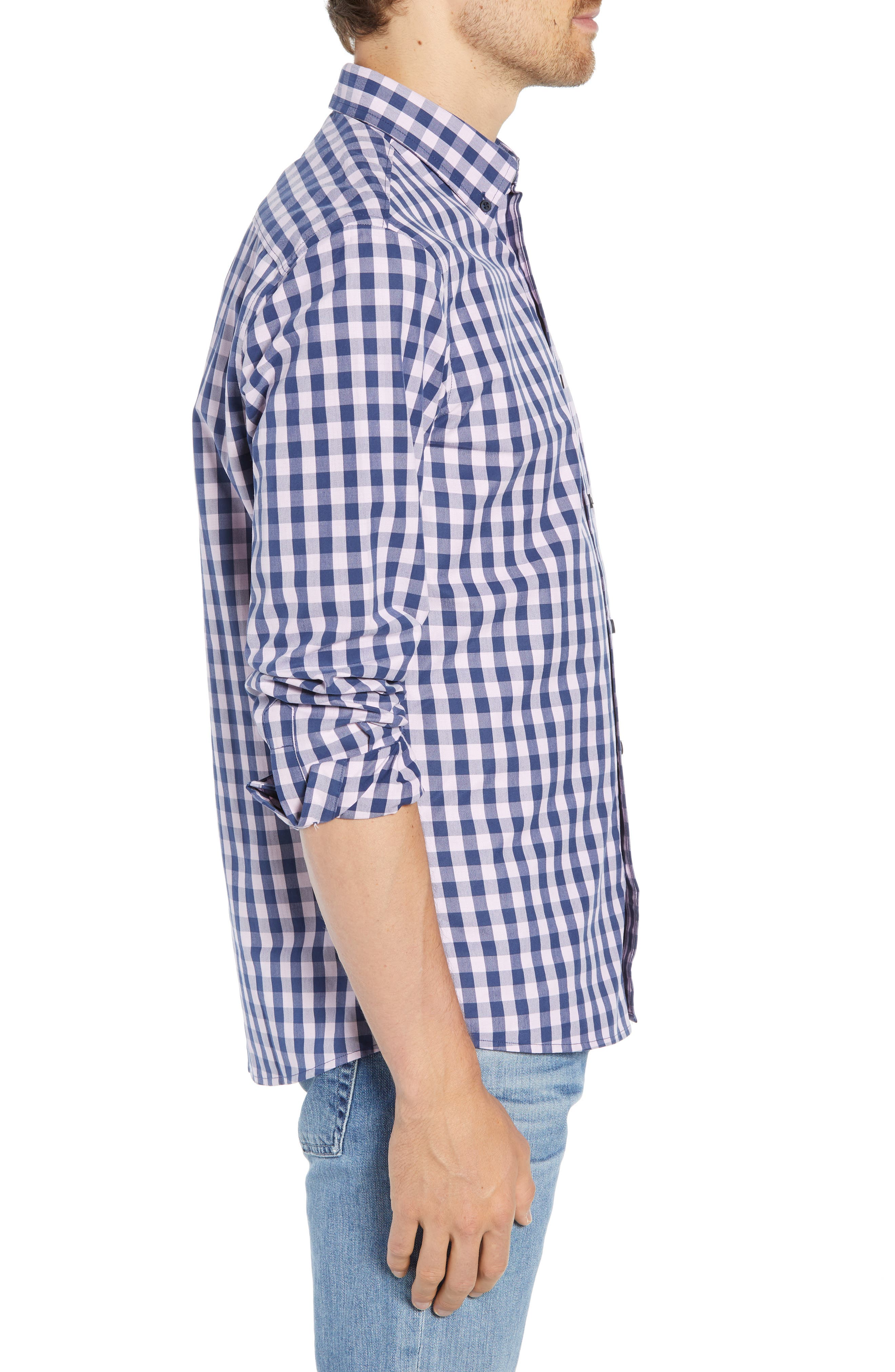 Slim Fit Gingham Sport Shirt,                             Alternate thumbnail 4, color,                             NAVY IRIS PINK CAMEO GINGHAM
