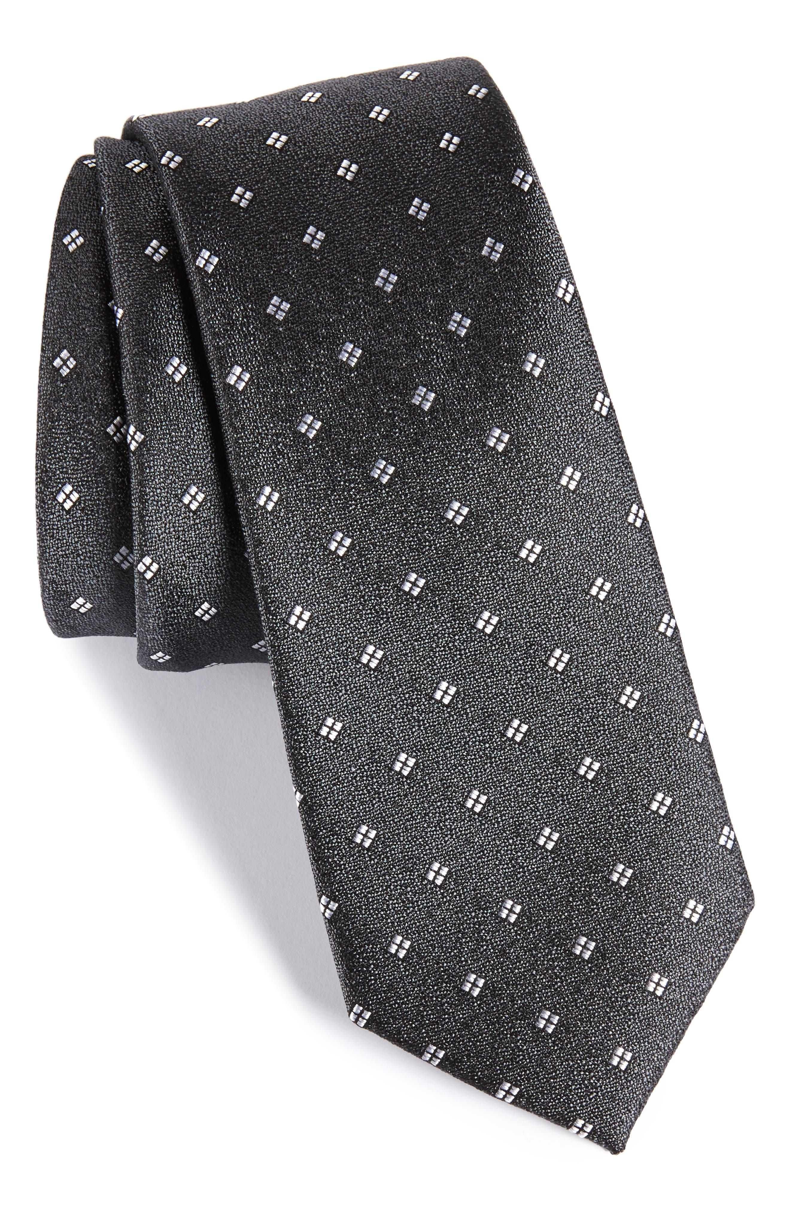 CALIBRATE Moten Neat Silk Skinny Tie, Main, color, 001