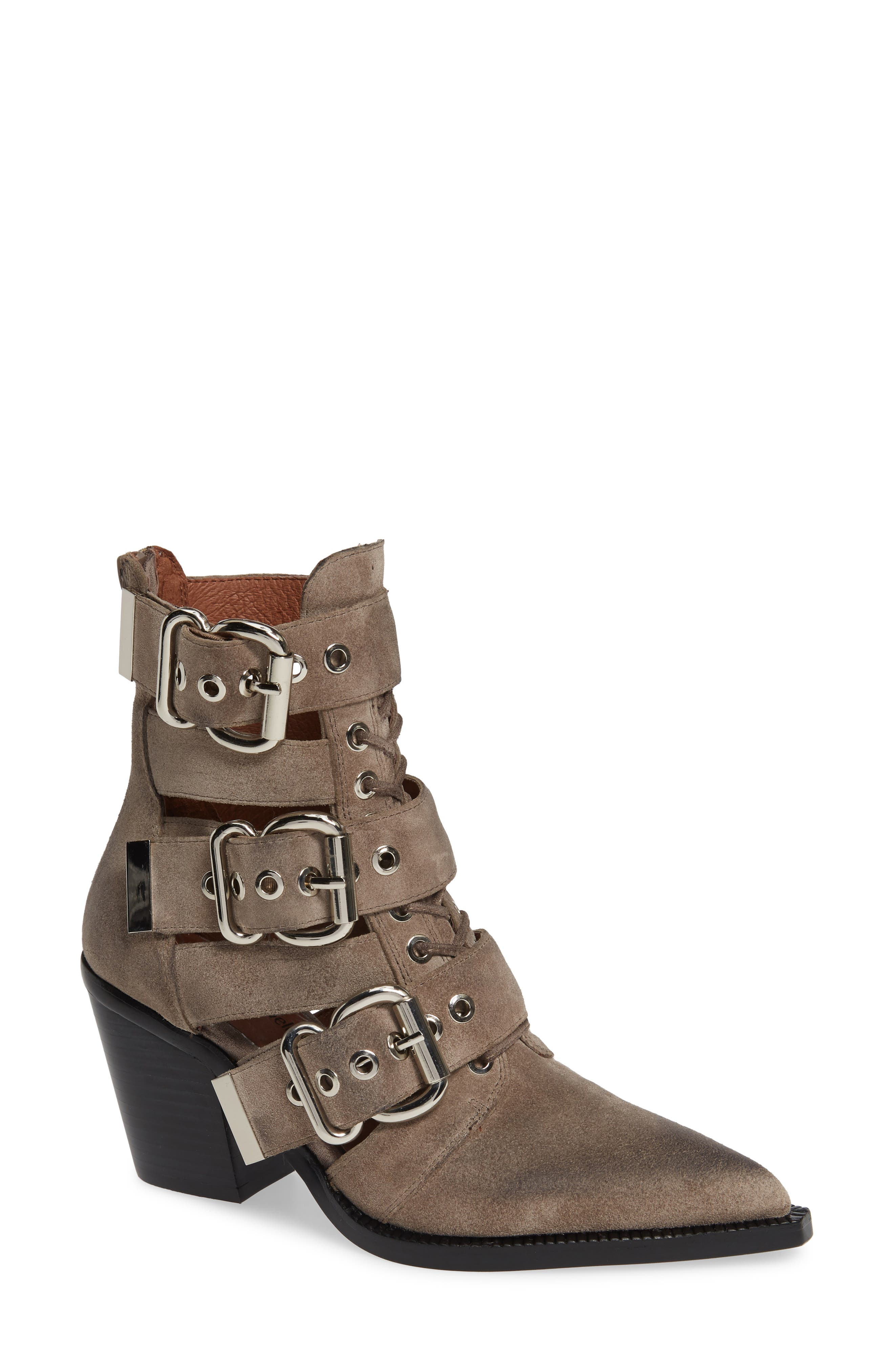 JEFFREY CAMPBELL Caceres Bootie in Taupe Suede