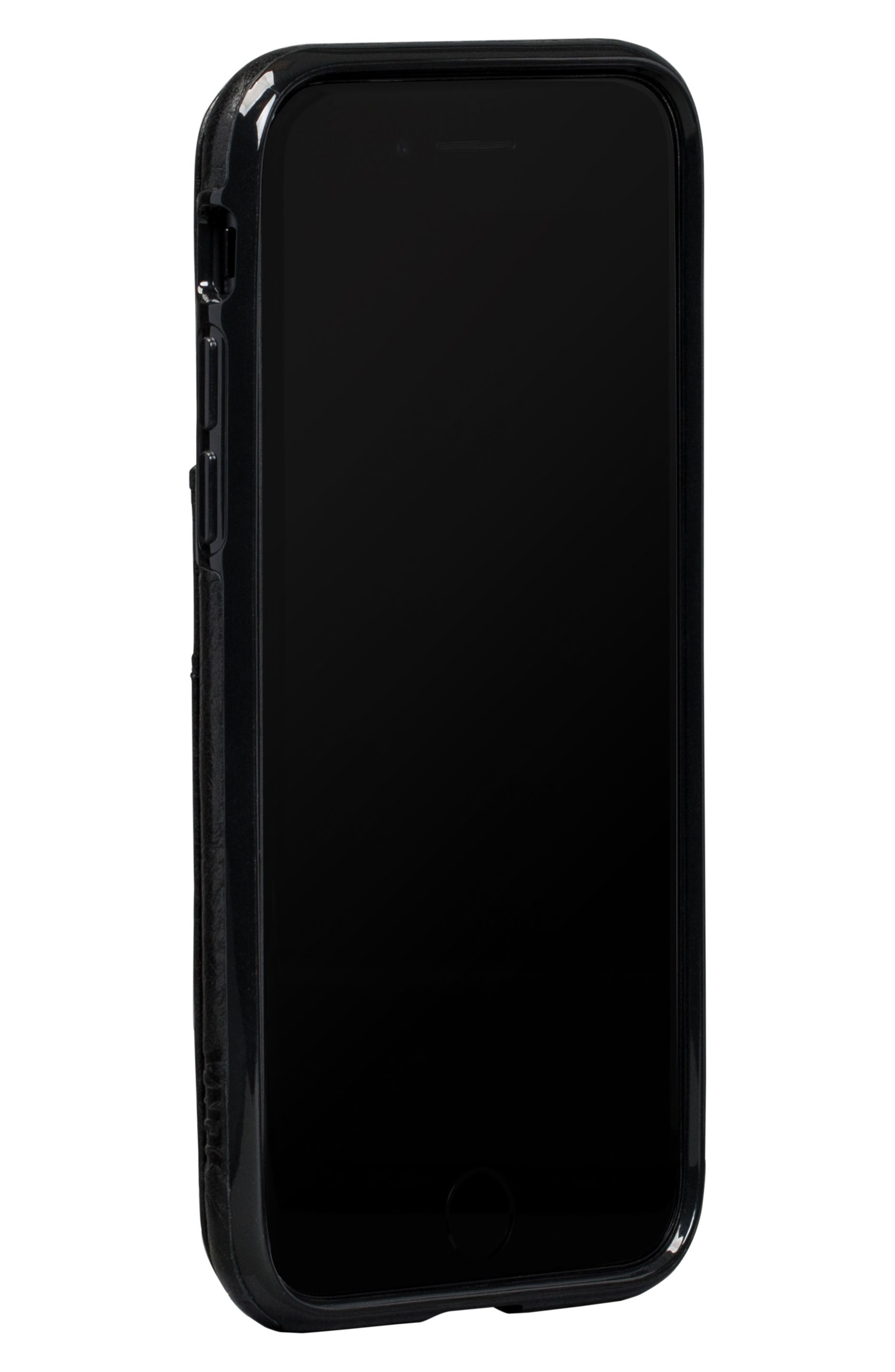 Bence Lugano iPhone 7/8 Wallet Case,                         Main,                         color, BLACK