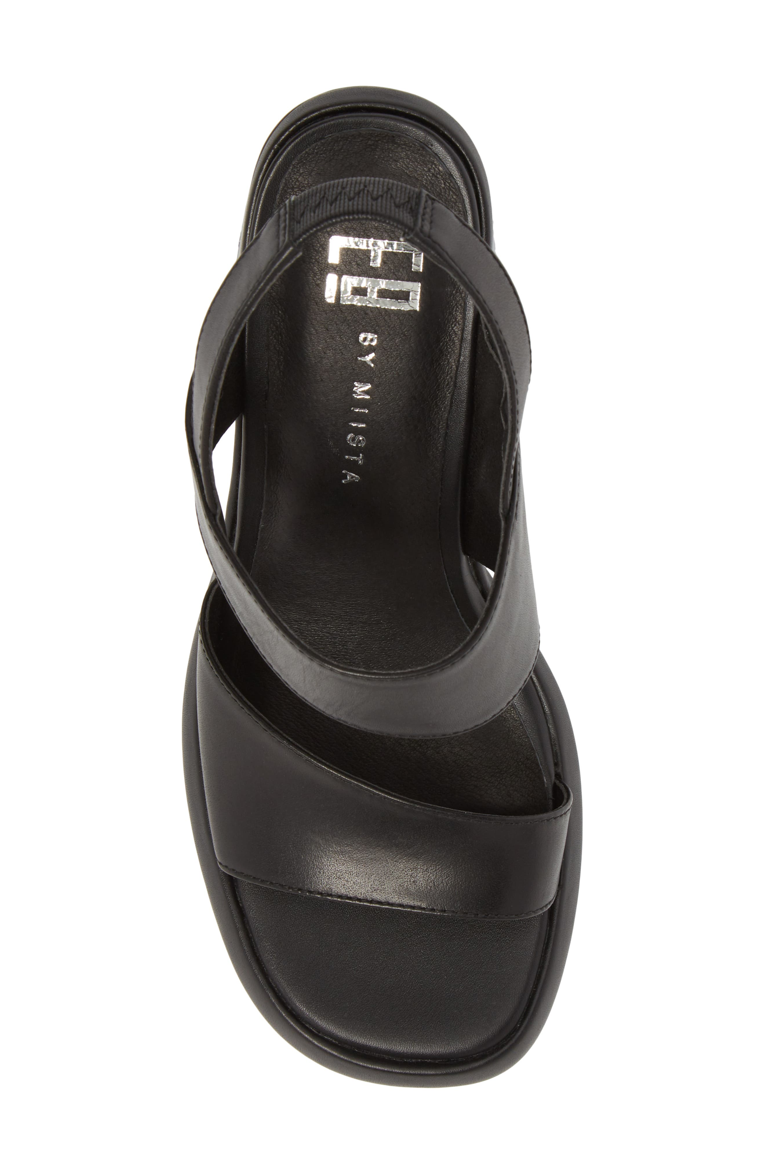 Block Heel Sandal,                             Alternate thumbnail 5, color,                             BLACK LEATHER