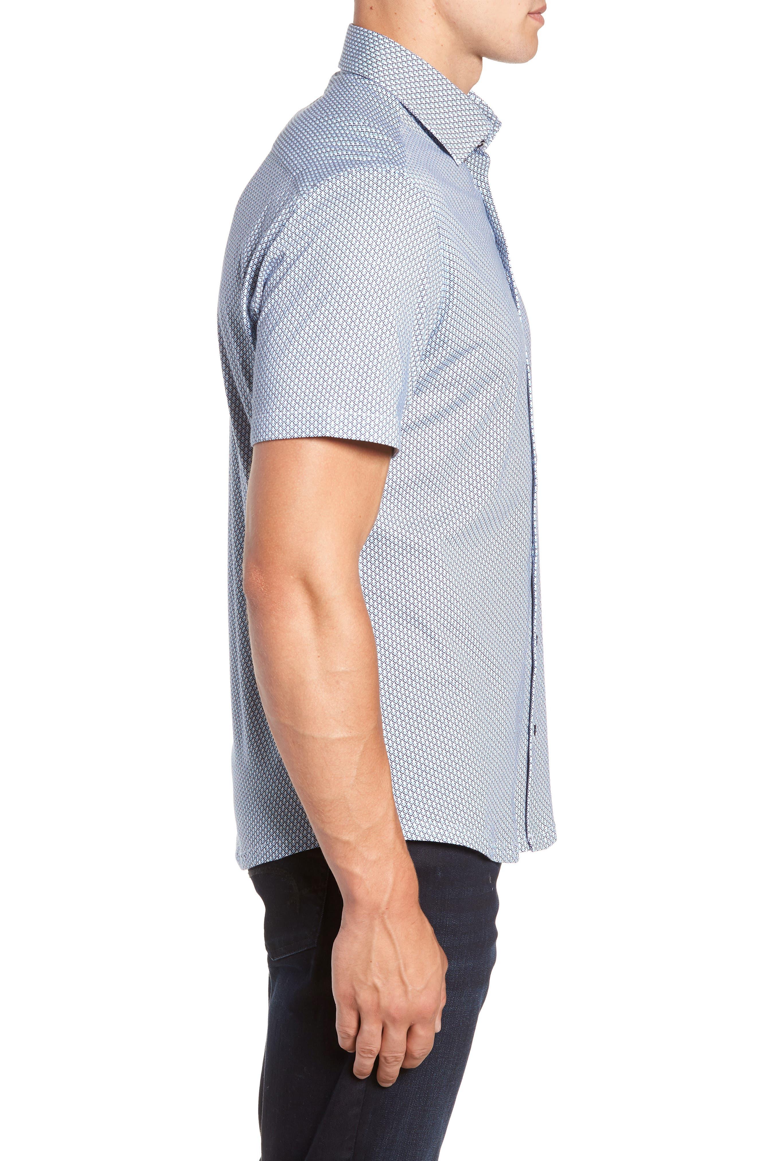 Trim Fit Geo Print Sport Shirt,                             Alternate thumbnail 4, color,                             BLUE