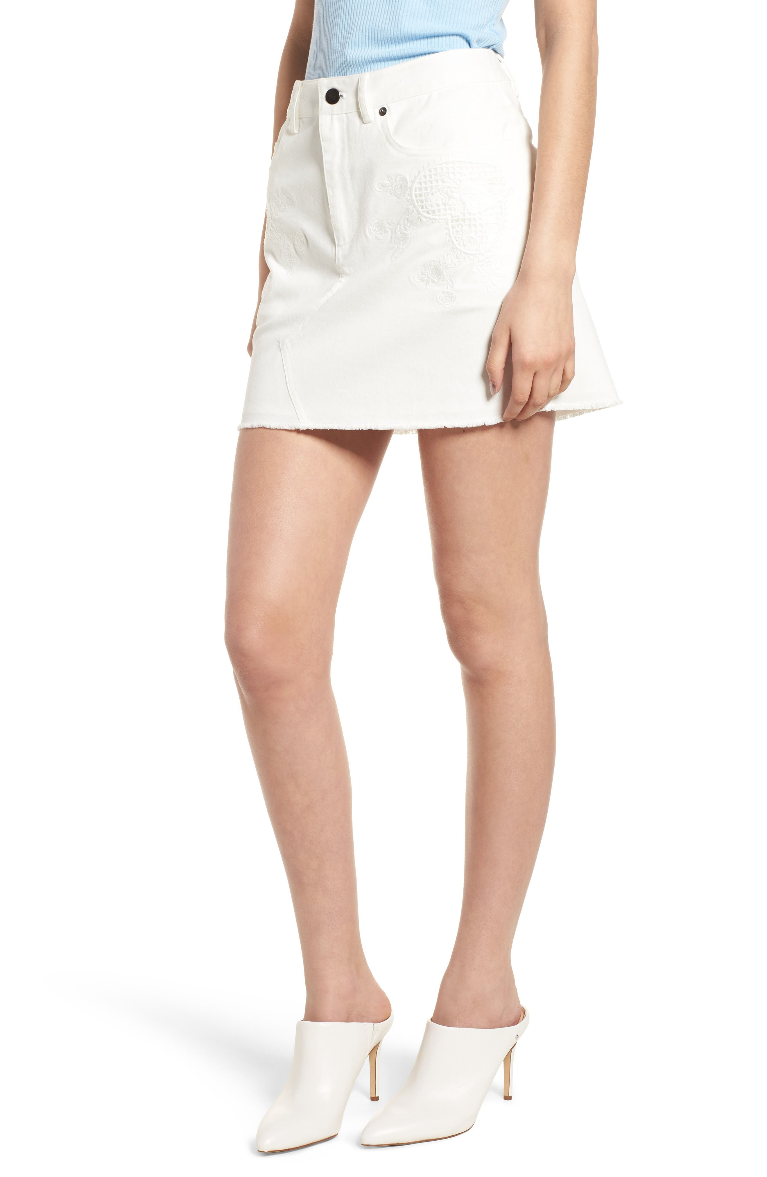 Eva Embroidered Denim Miniskirt,                             Main thumbnail 1, color,                             WHITE