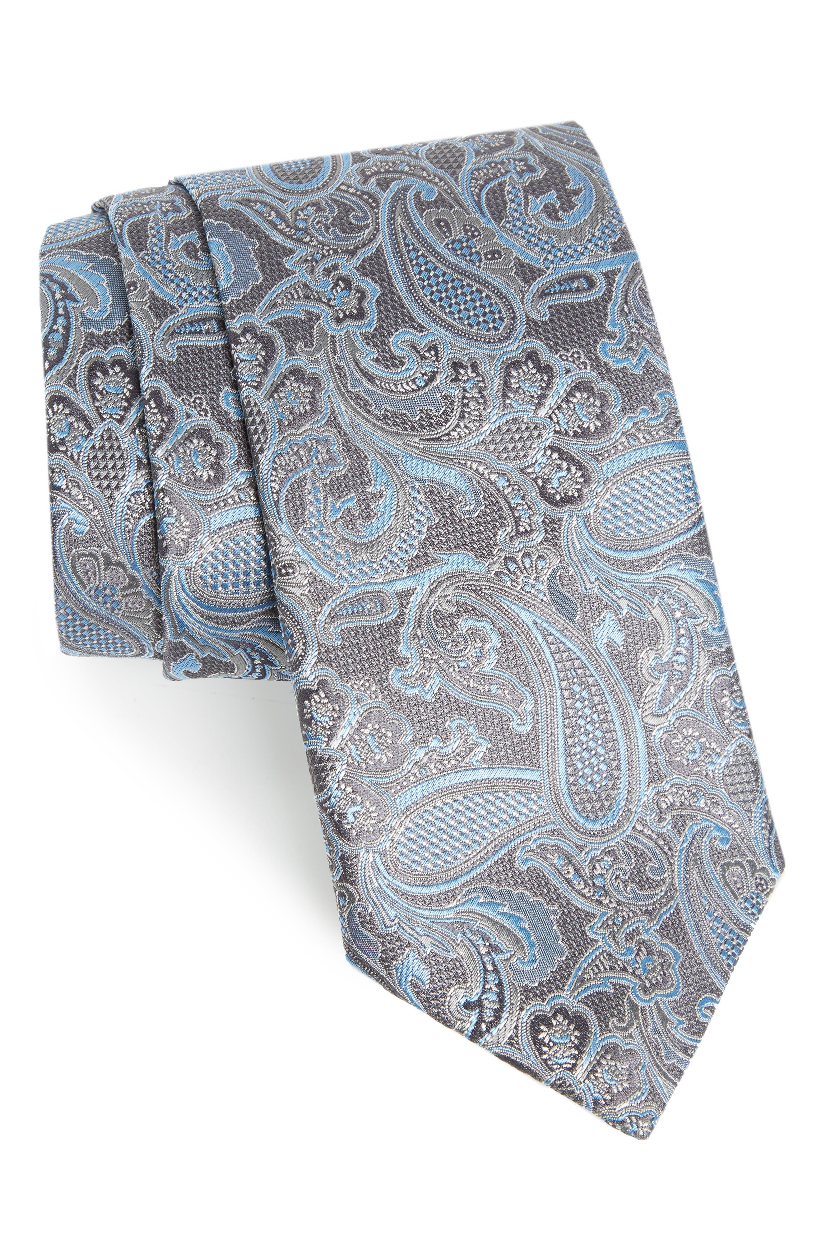 CANALI,                             Paisley Silk Tie,                             Main thumbnail 1, color,                             030