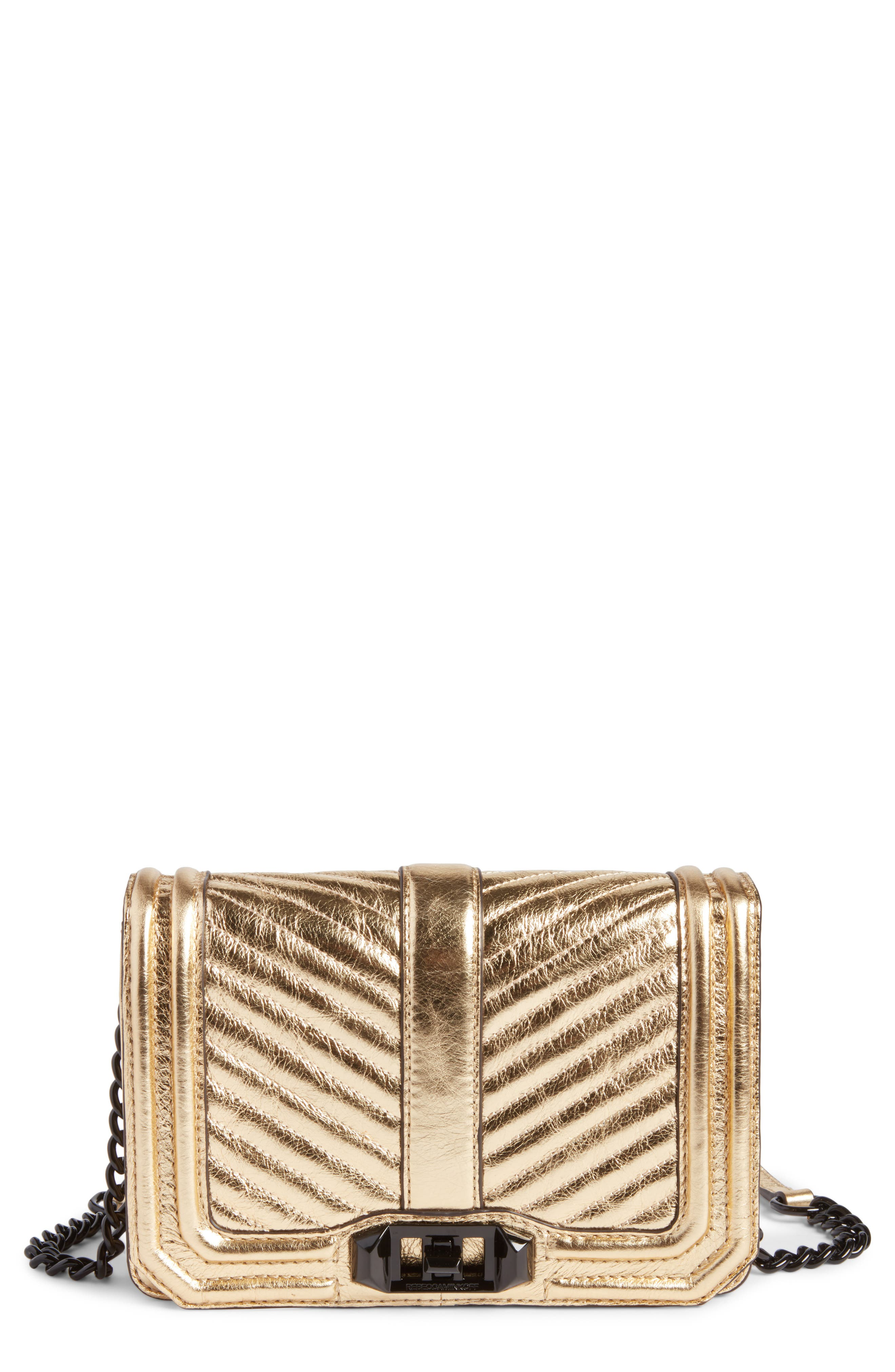Small Love Metallic Leather Crossbody Bag,                         Main,                         color, 710