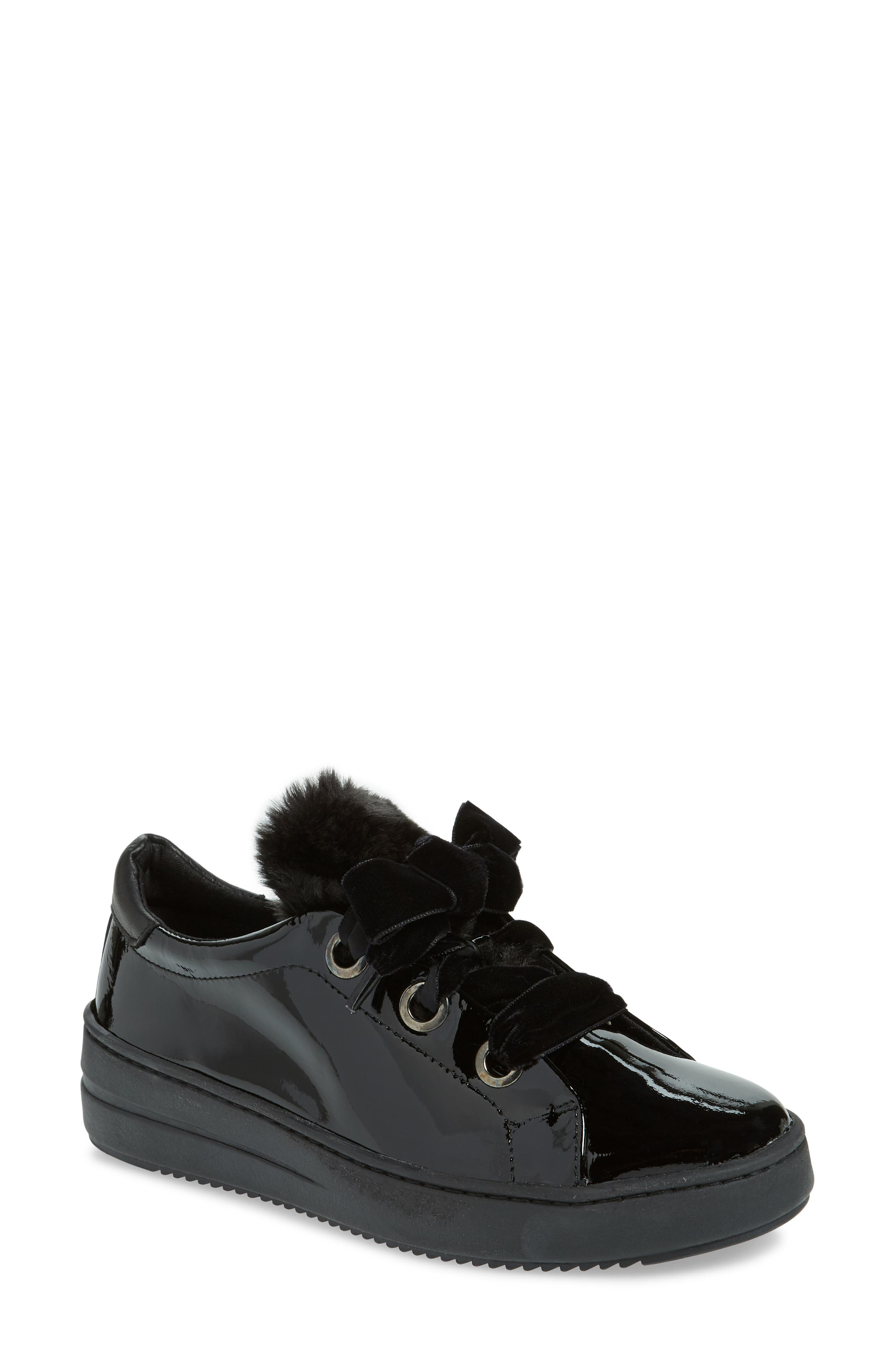 Groove Faux-Shearling Trim Sneaker,                         Main,                         color, BLACK PATENT LEATHER