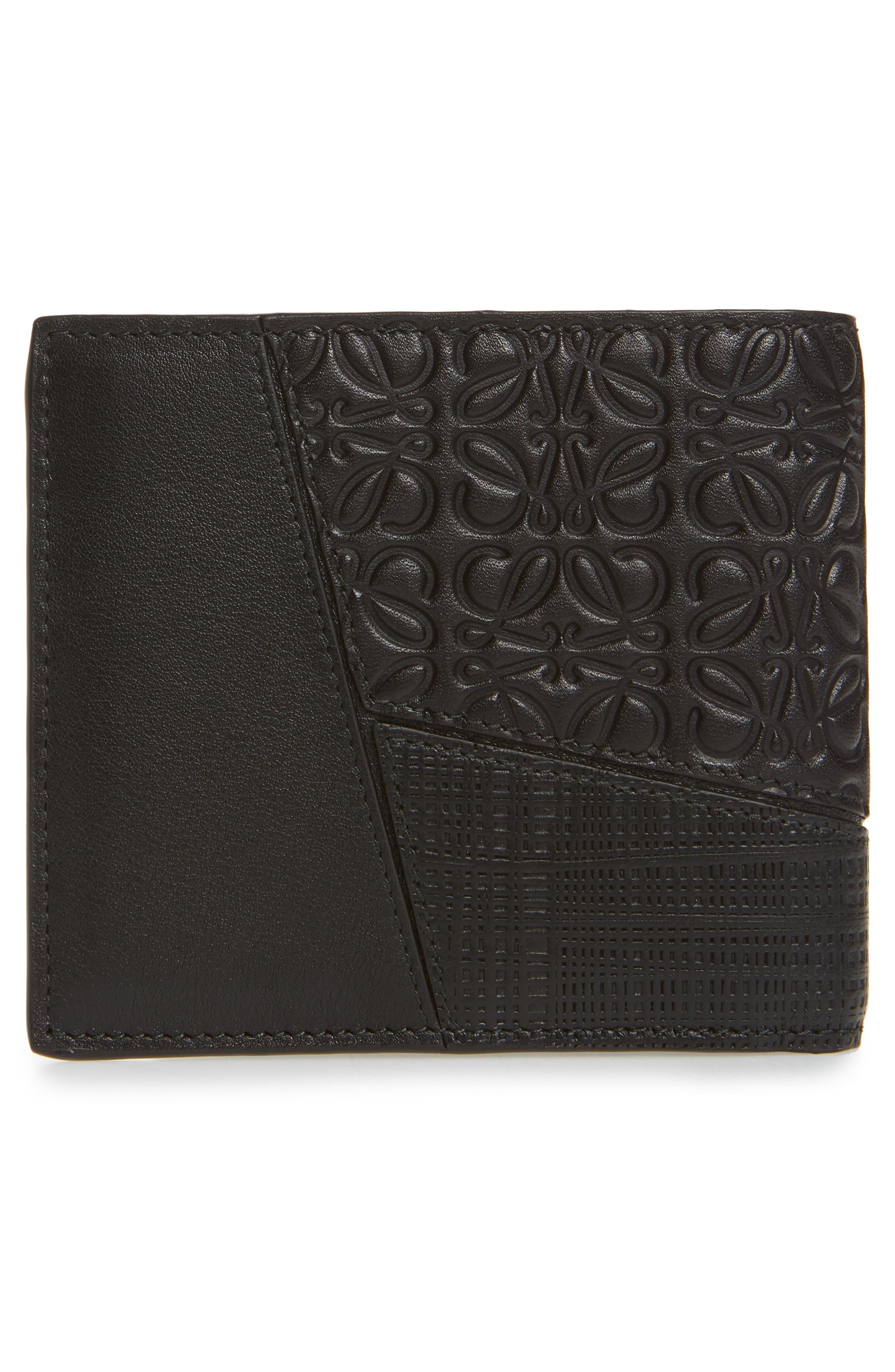 Puzzle Bifold Leather Wallet,                             Alternate thumbnail 3, color,                             BLACK