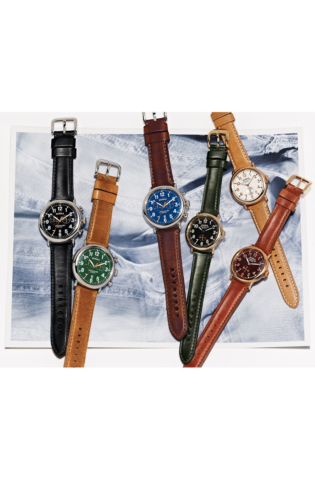 The Runwell Chrono Leather Strap Watch, 47mm,                             Alternate thumbnail 5, color,                             DARK BROWN/ BLUE