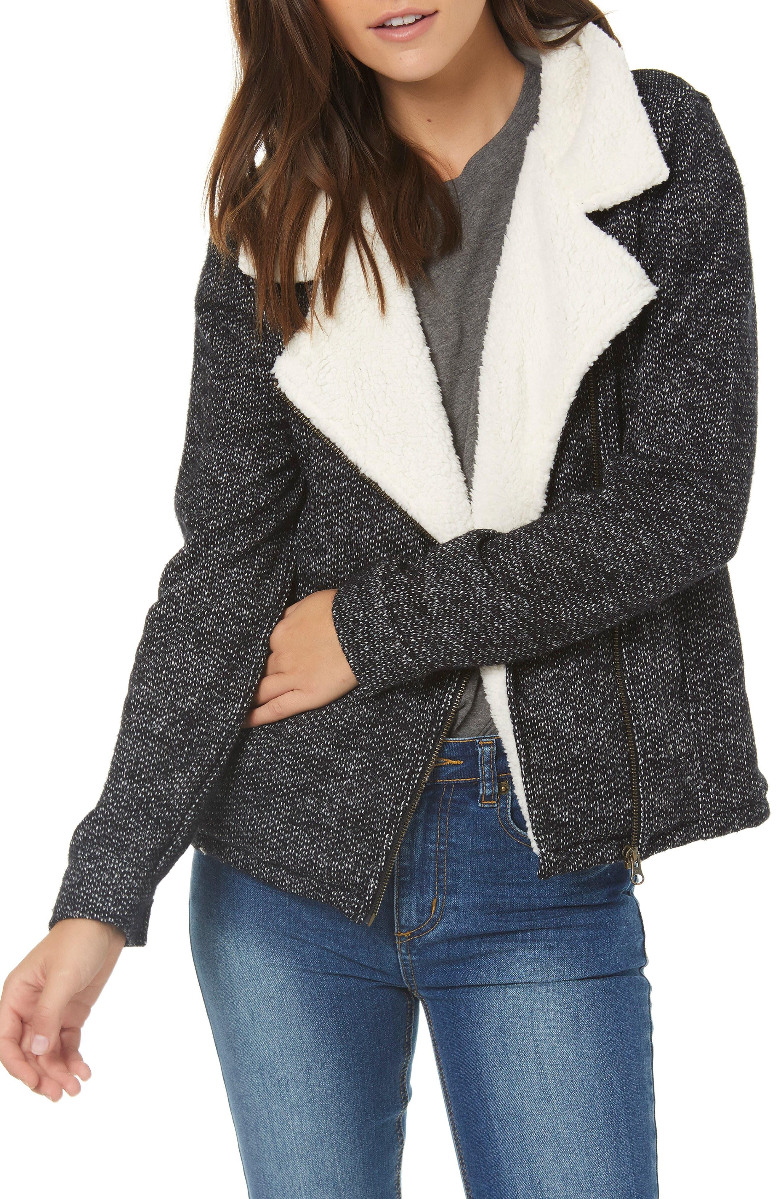 Latte Faux Shearling Trim Moto Jacket,                         Main,                         color, BLACK