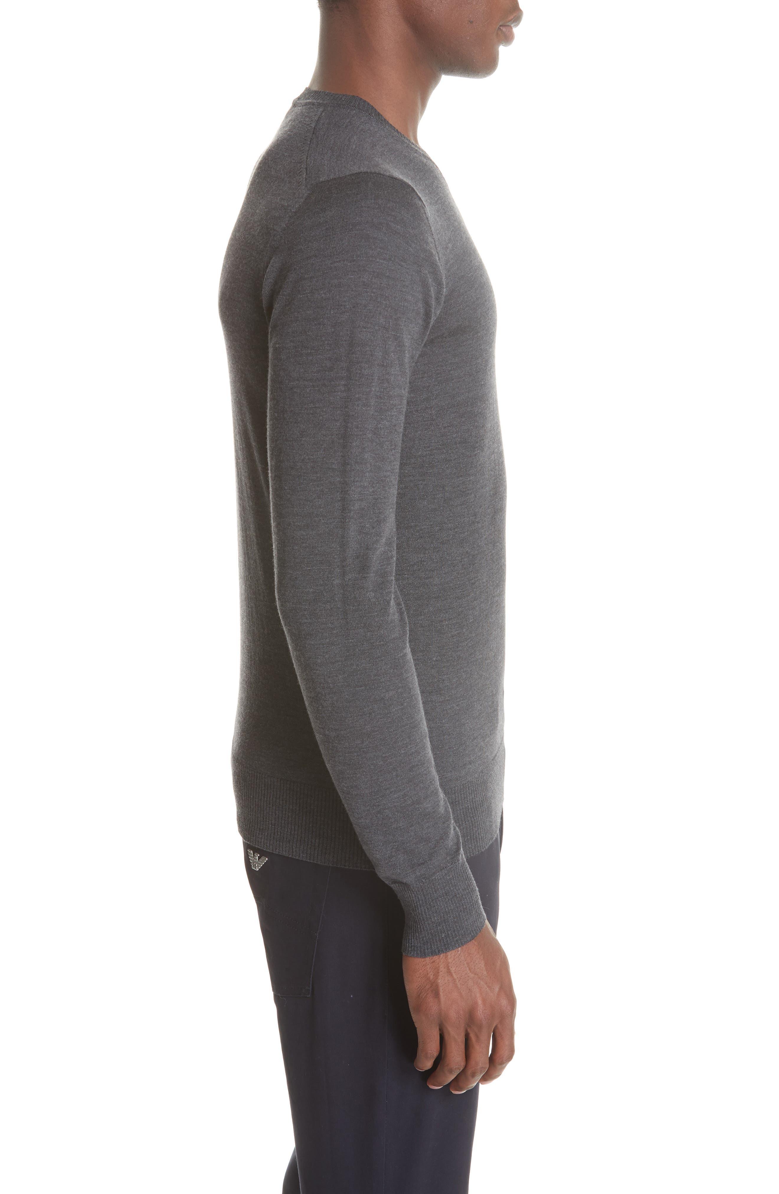 V-Neck Wool Sweater,                             Alternate thumbnail 3, color,                             GREY