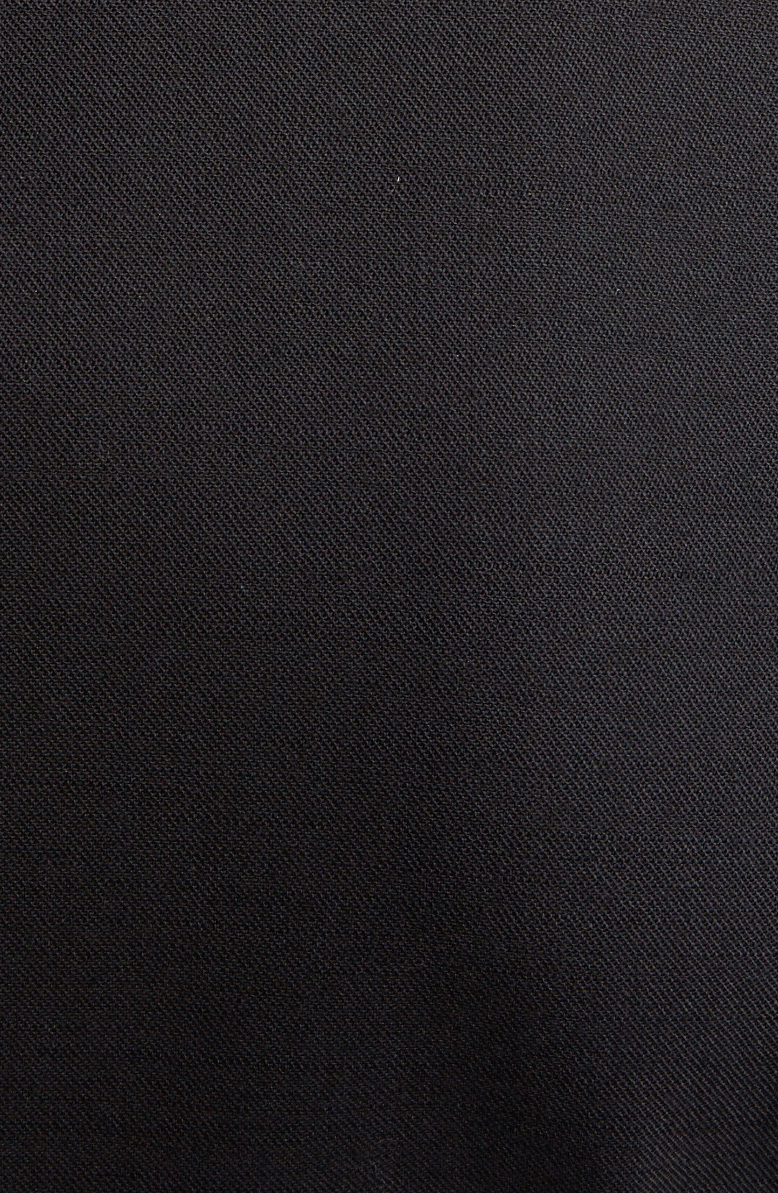 SIMONE ROCHA,                             Marabou Trim Double Breasted Stretch Wool Jacket,                             Alternate thumbnail 5, color,                             BLACK